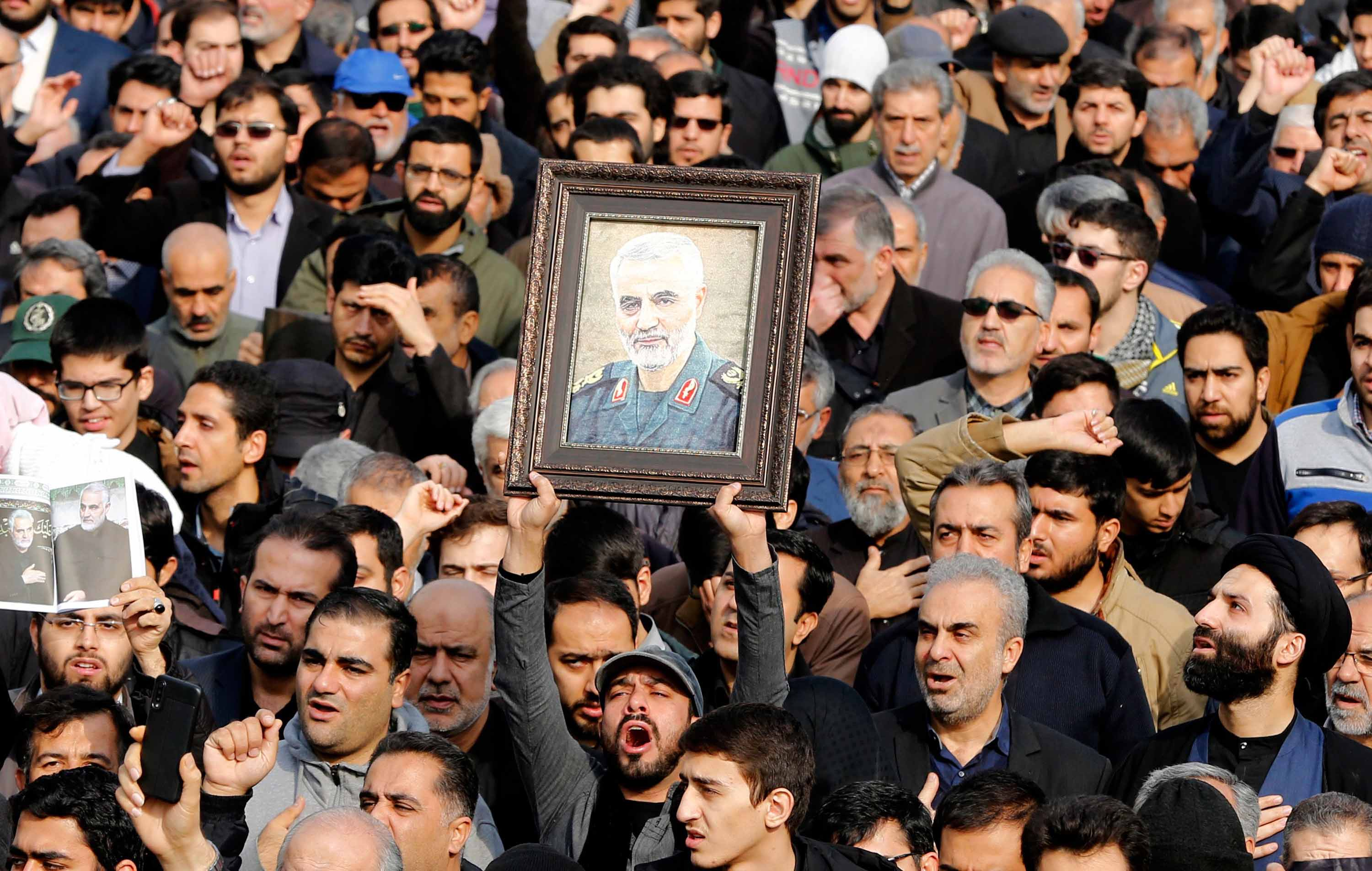 Thousands of Iranians take to the streets of Tehran on Friday to mourn the death of Soleimani. Credit: Abedin/Taherkenareh/EPA-EFE/Shutterstock.