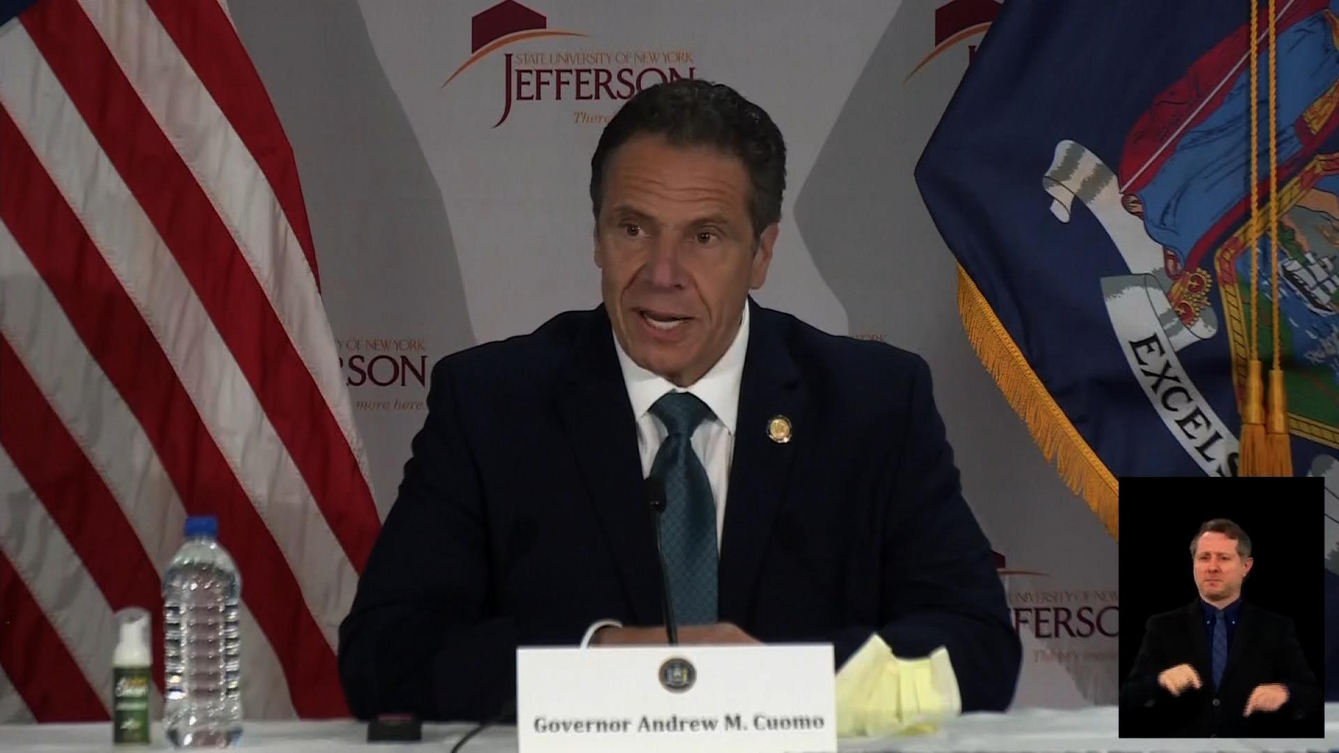New York Gov. Andrew Cuomo speaks during a coronavirus briefing in Watertown, New York, on May 13.