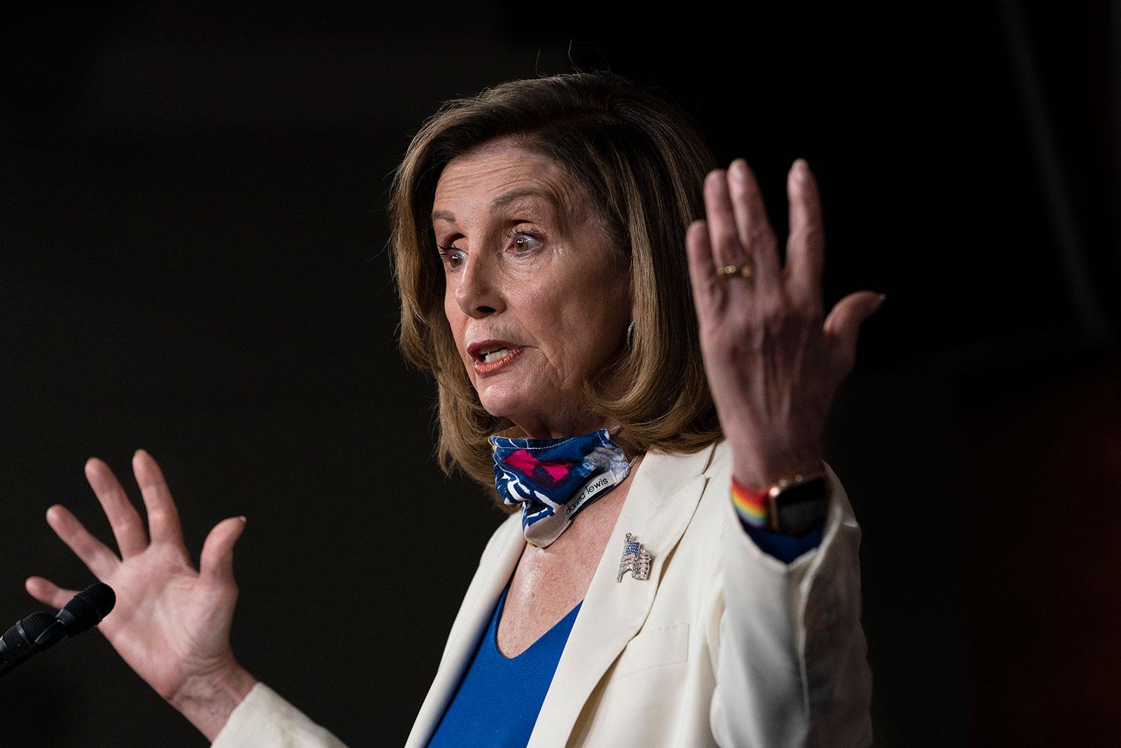 House Speaker Nancy Pelosi speaks during a news conference on Thursday, October 1.