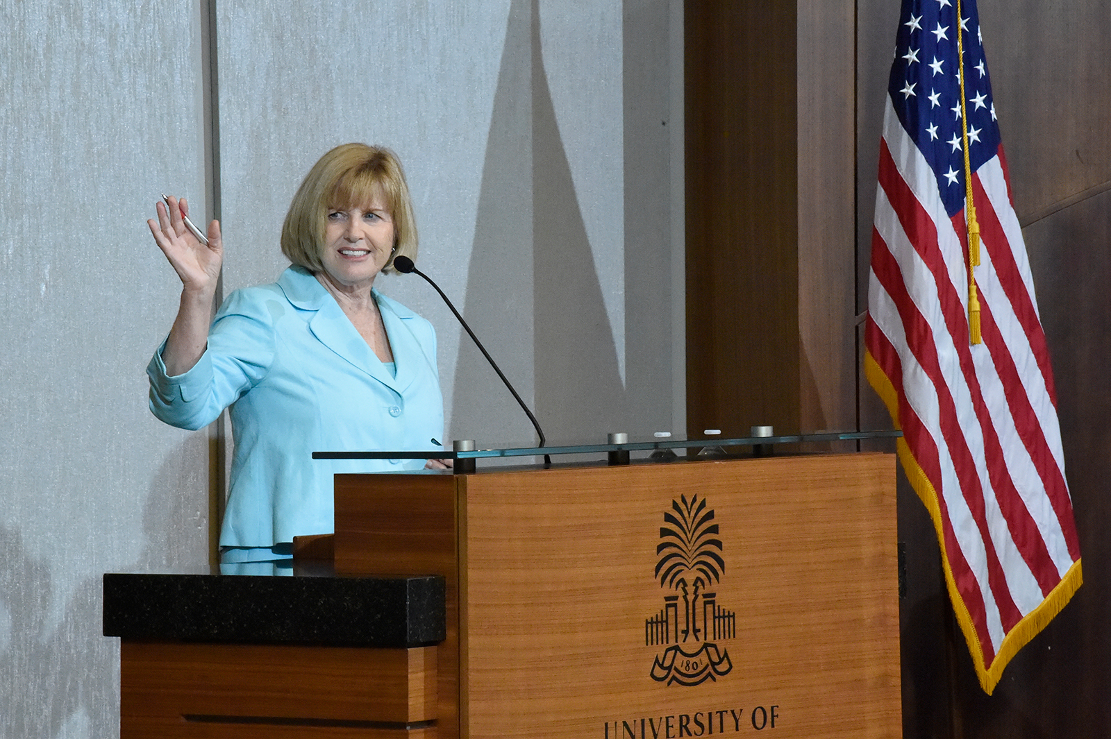 South Carolina Education Superintendent Molly Spearman addresses the audience at an accelerateSC gathering in Columbia, South Carolina on April 23.