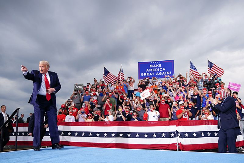 US President Donald Trump arrives for a campaign rally at Smith-Reynolds Regional Airport in Winston-Salem, North Carolina on September 8, 2020.