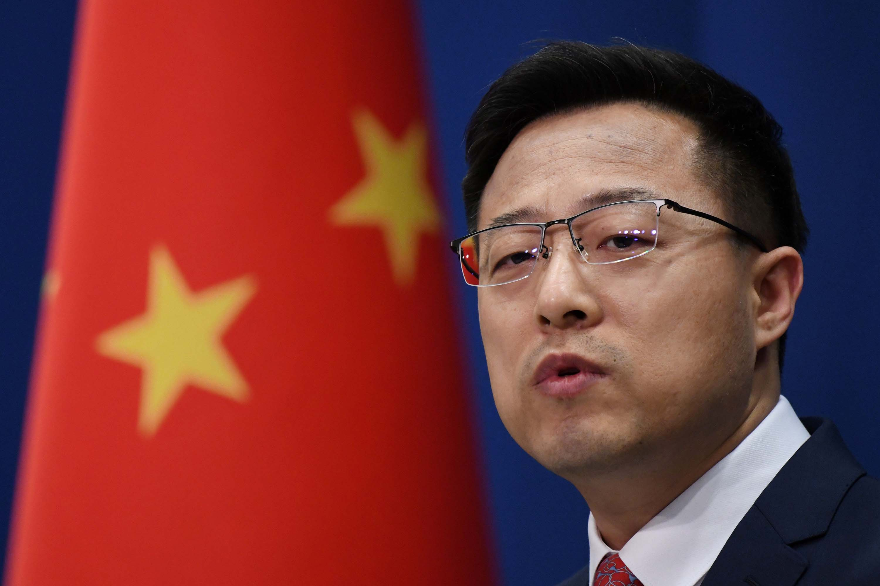 Chinese Foreign Ministry spokesman Zhao Lijian is pictured at a media briefing in Beijing in April.