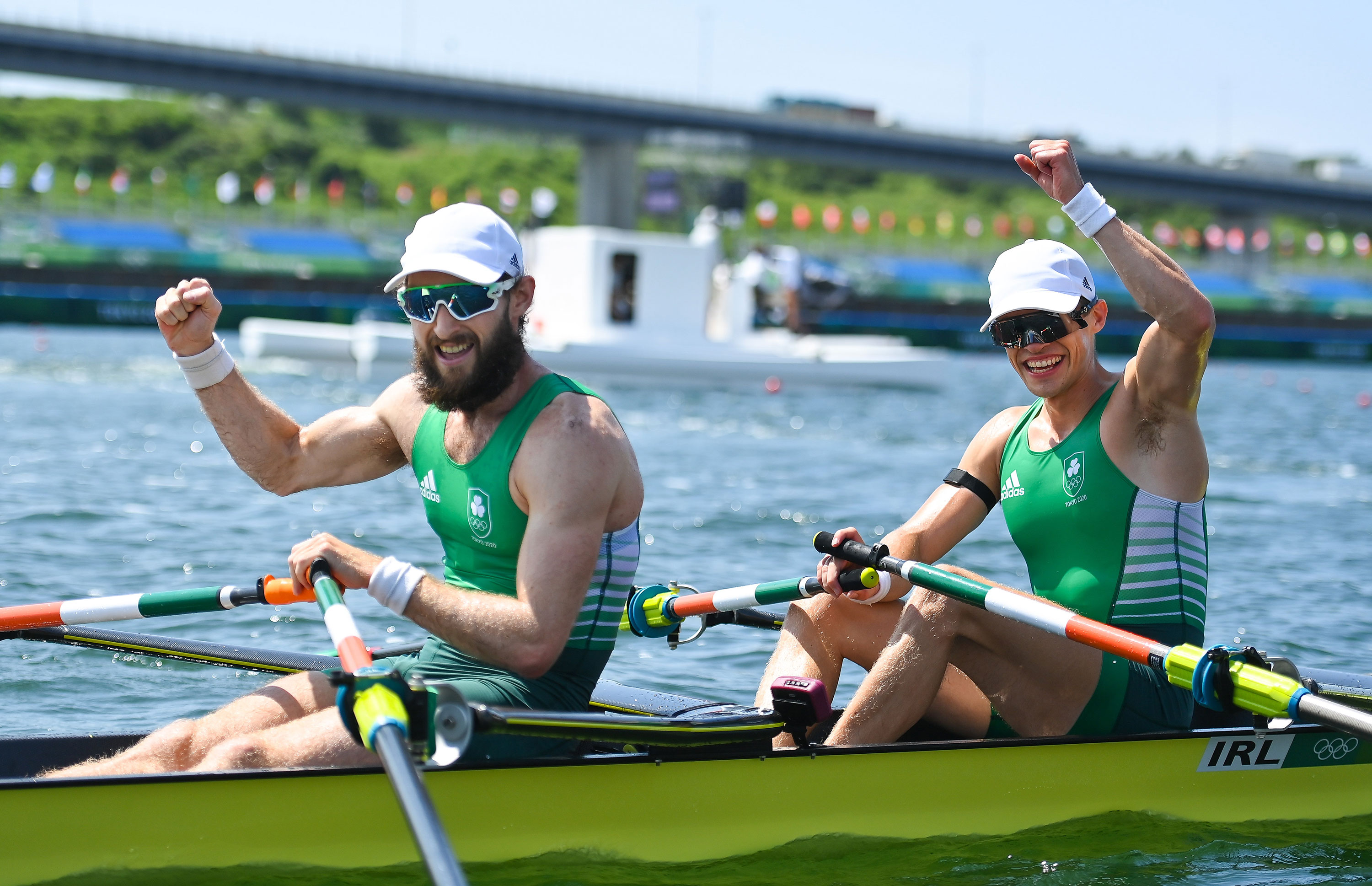 Paul O'Donovan, left, and Fintan McCarthy of Ireland celebrate after winning gold in the Men's Lightweight Double Sculls in Tokyo on July 29.