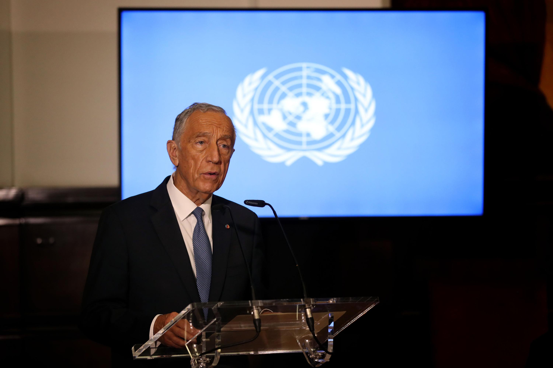 Portuguese President Marcelo Rebelo de Sousa delivers a speech at the Portuguese Parliament in Lisbon, Portugal, on December 14, 2020.