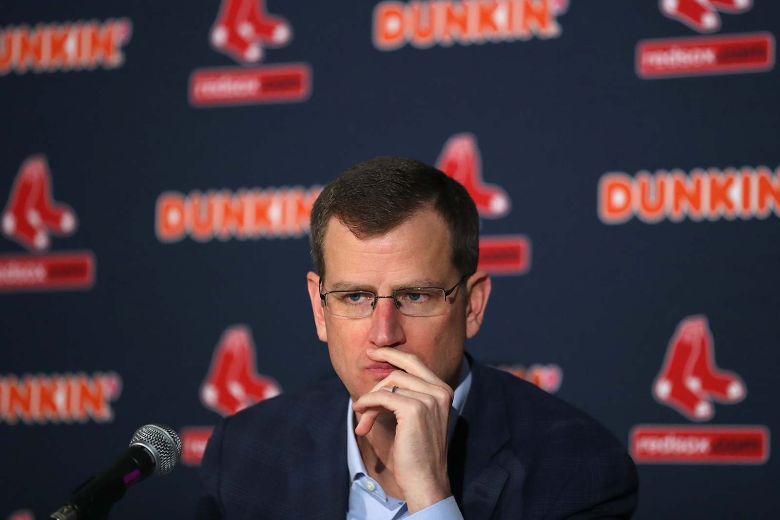 Red Sox CEO Sam Kennedy looks on during a news conference on January 15, in Boston, Massachusetts.