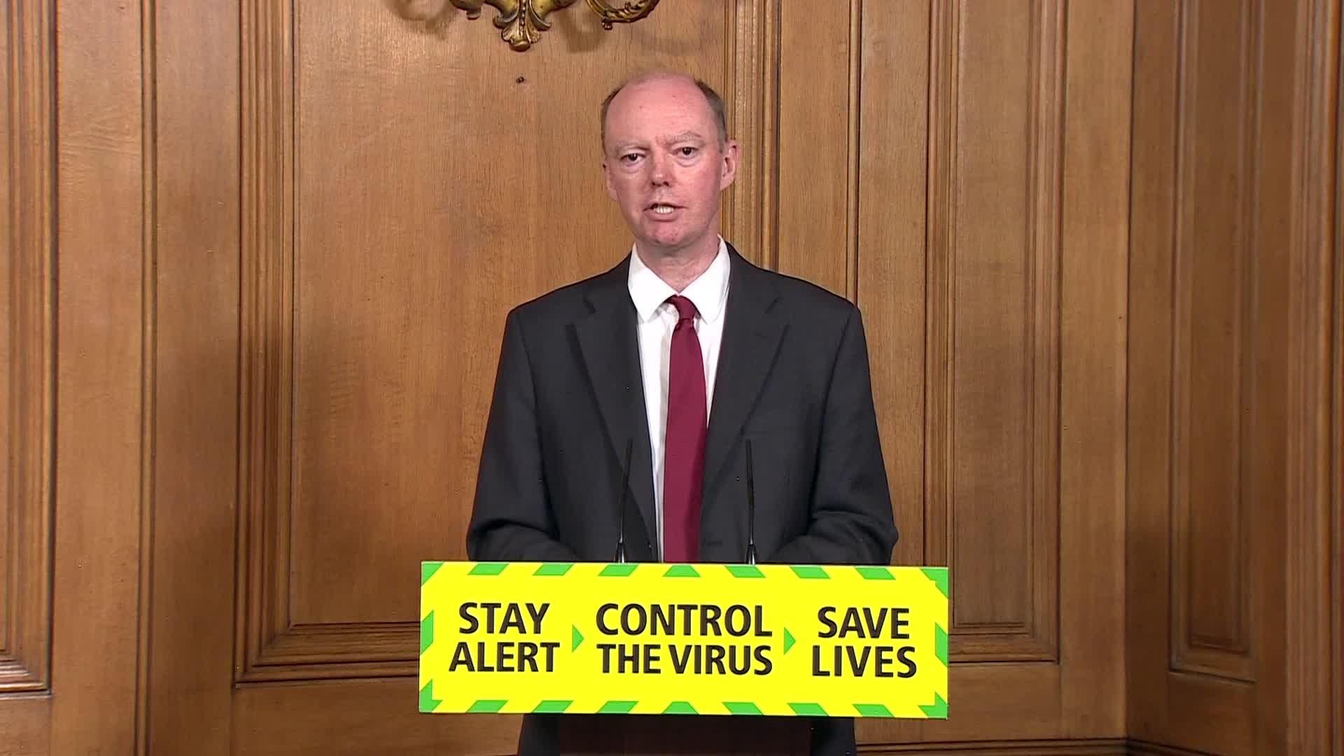 England's Chief Medical Officer, Professor Chris Whitty, speaks during a press conference at 10 Downing Street in London on June 23.
