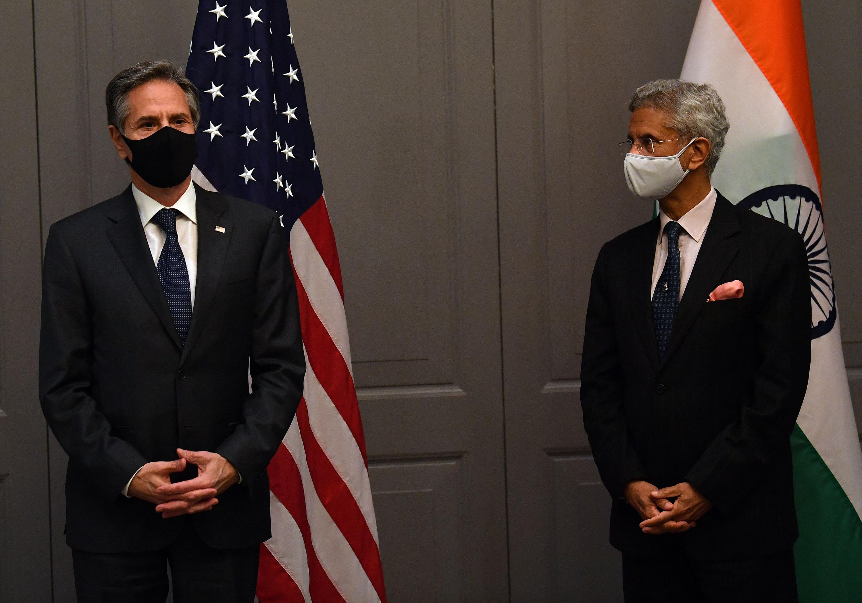 India's External Affairs MinisterDr. S. Jaishankar, right, attends a press conference with US Secretary of State Antony Blinken following a bilateral meeting in London, on Monday, May 3.