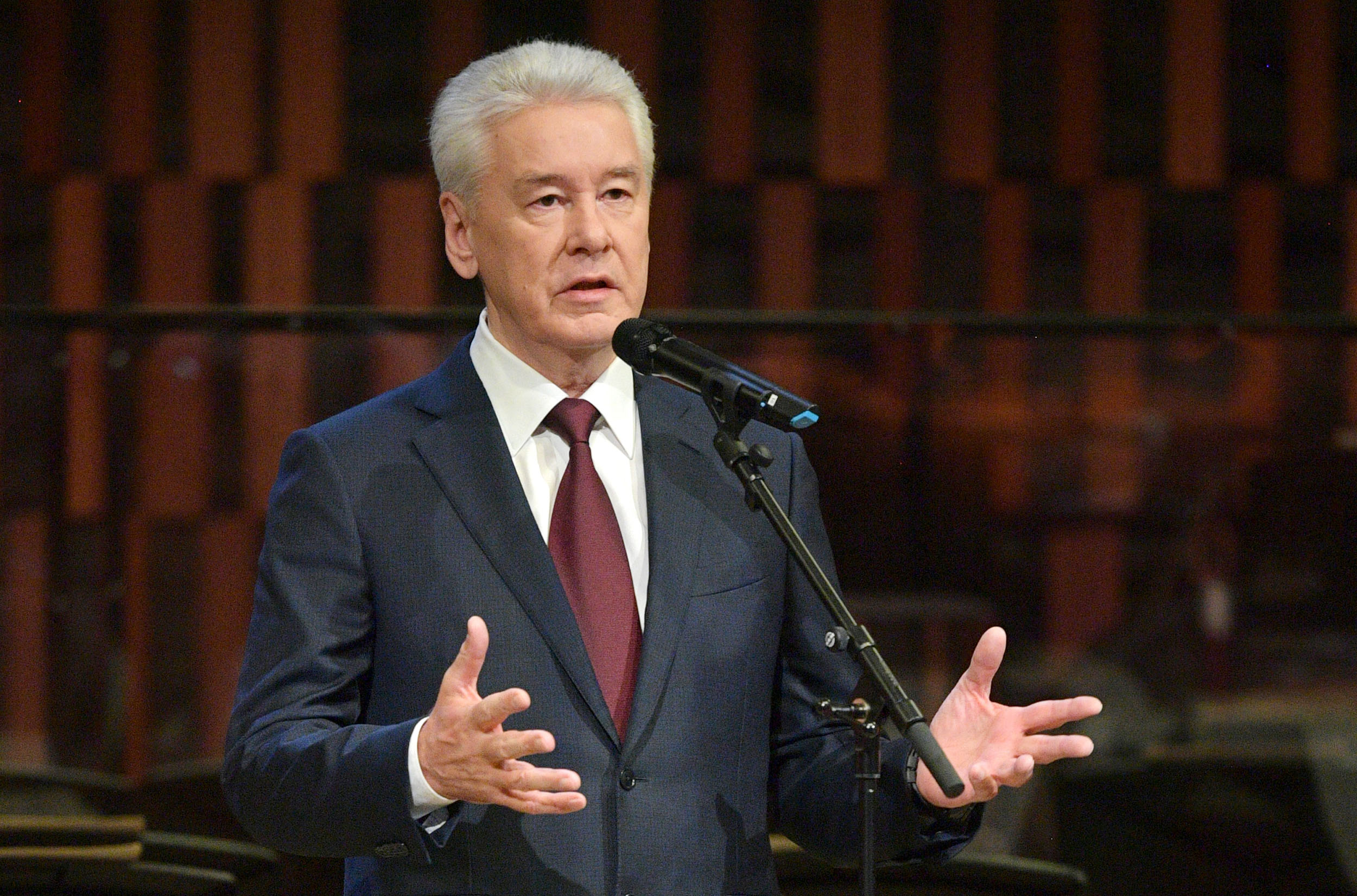 Moscow Mayor Sergey Sobyanin gives a speech during an event marking Moscow City Day on September 5.