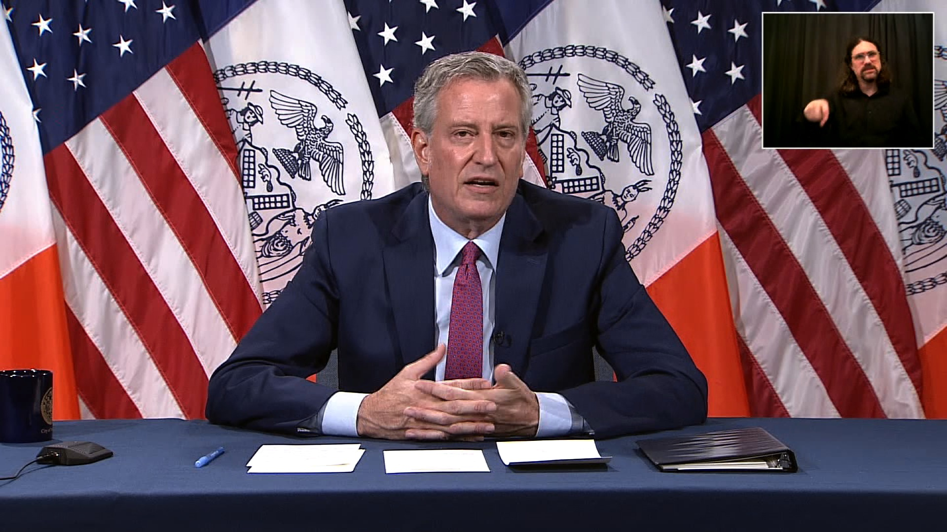 New York Mayor Bill de Blasio speaks during a press conference in New York on June 16.