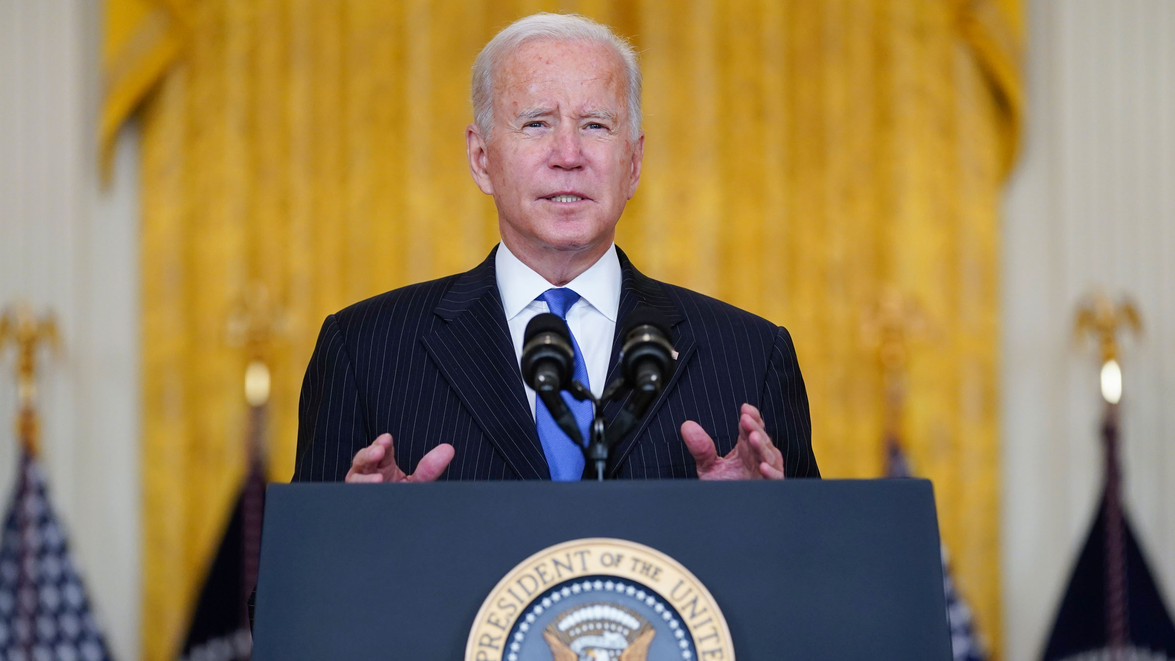President Joe Biden delivers remarks in the East Room of the White House on Wednesday.