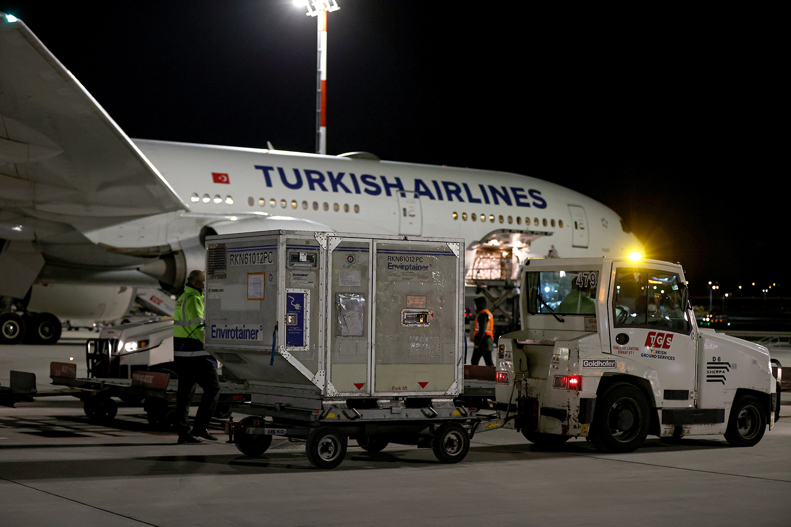 Containers of Covid-19 vaccines, ordered from China's Sinovac Biotech, are unloaded upon arrival at Istanbul Airport in Turkey, on January 25.