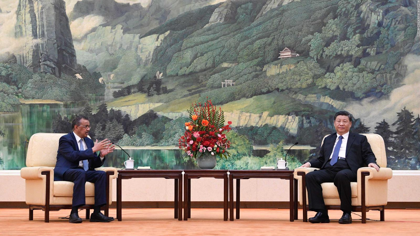 Tedros Adhanom, Director General of the World Health Organization, attends a meeting with Chinese President Xi Jinping at the Great Hall of the People, on January 28, 2020 in Beijing, China.