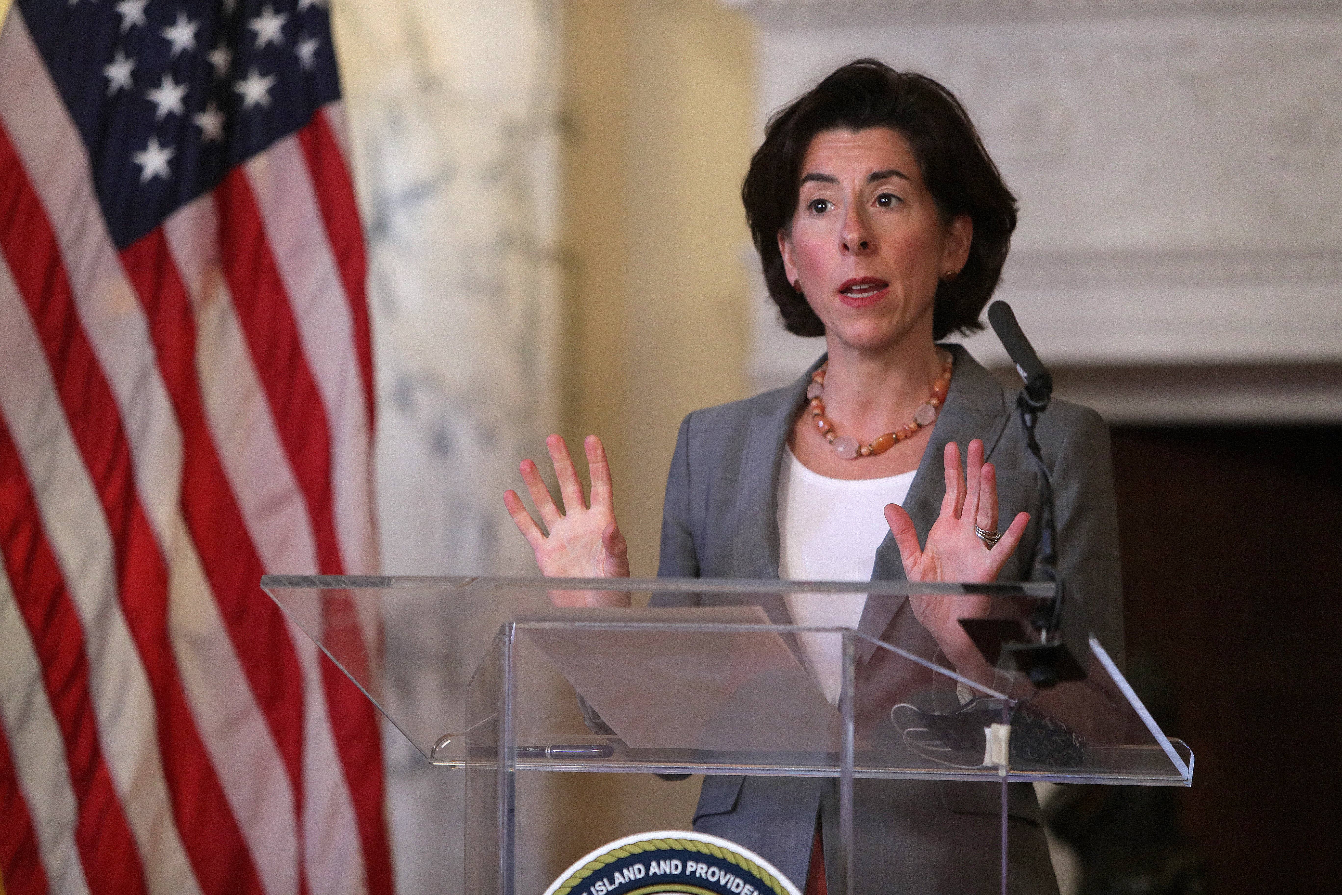 Rhode Island Governor Gina Raimondo speaks at a streaming press conference in Providence, RI on April 14.