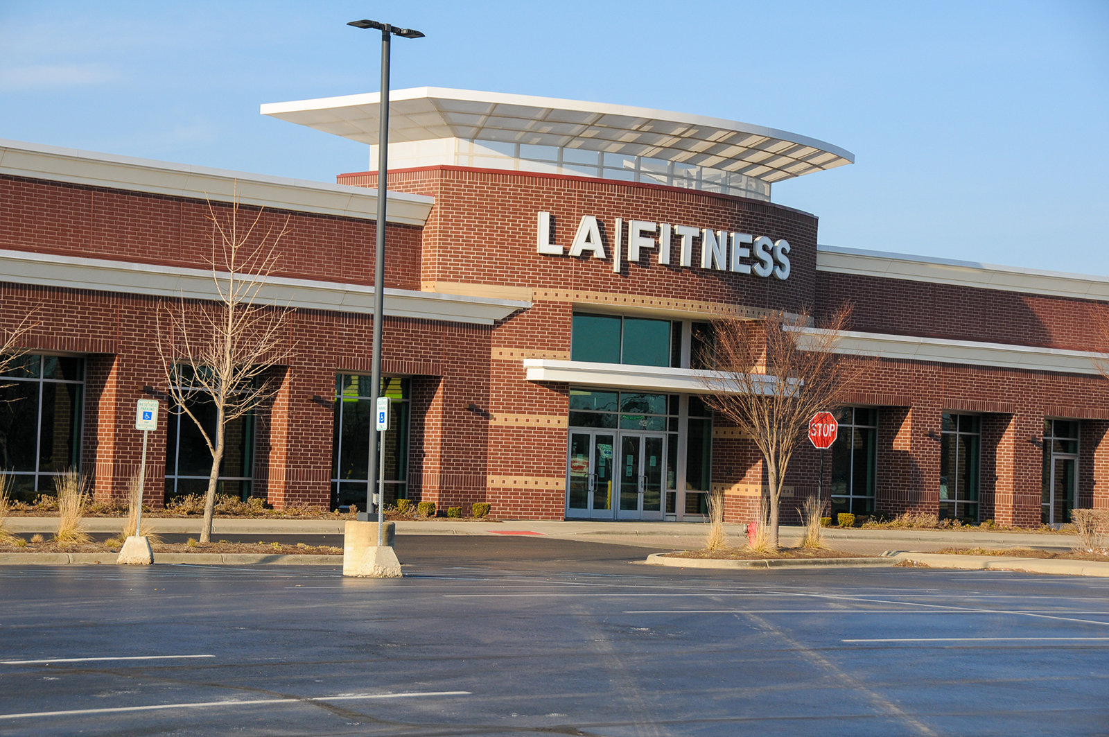 A closed LA Fitness gym is shown in Plymouth, Michigan.