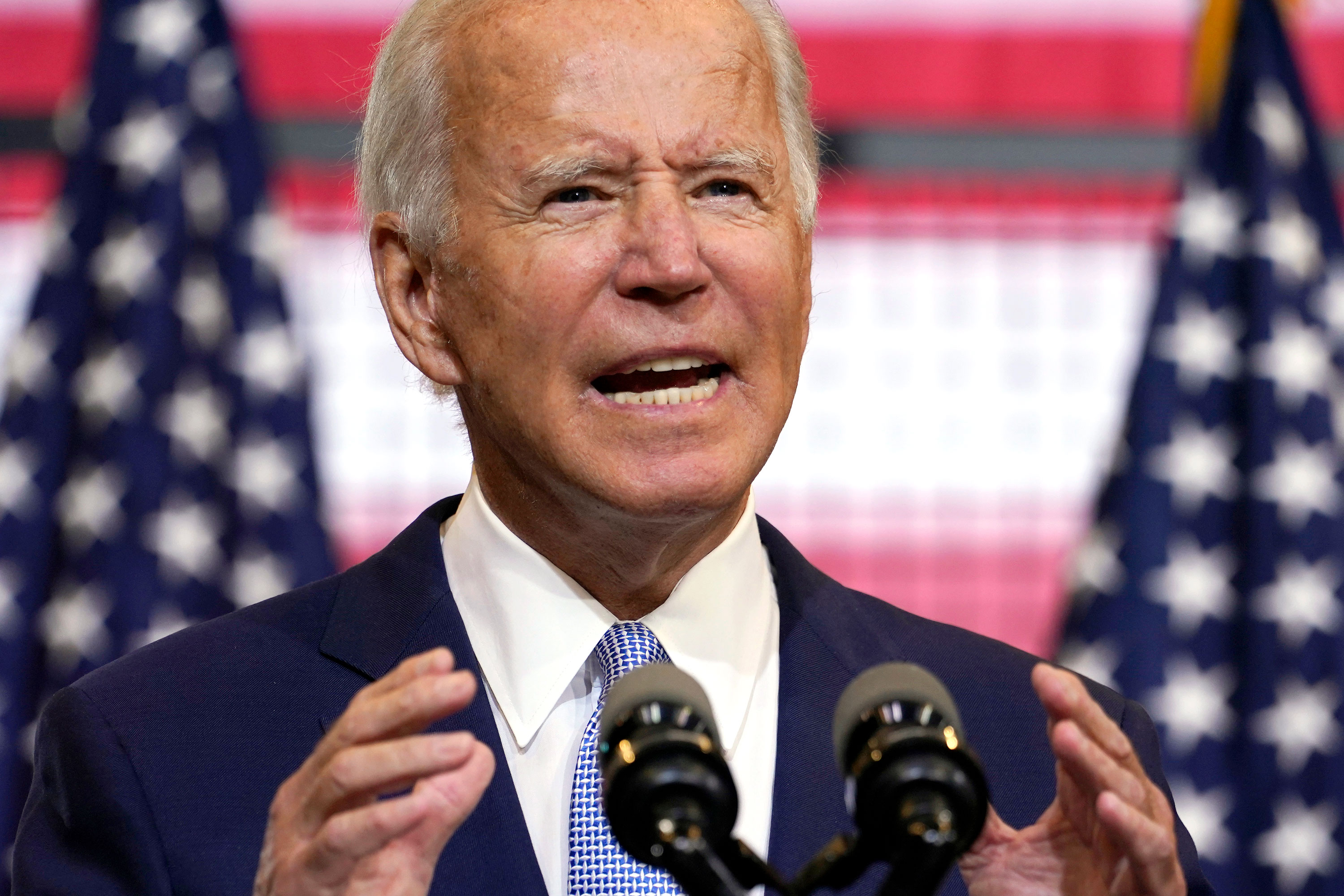Democratic presidential candidate Joe Biden speaks at a campaign event at Mill 19 in Pittsburgh, Pennsylvania, on August 31.