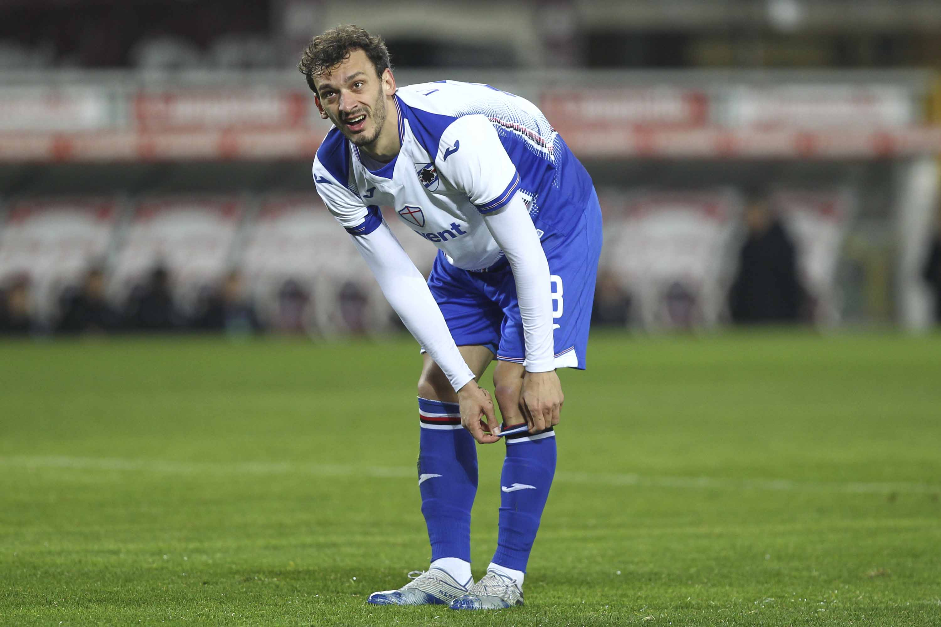 Manolo Gabbiadini of UC Sampdoria is pictured on the pitch during a Serie A football match in Turin, Italy, on February 8