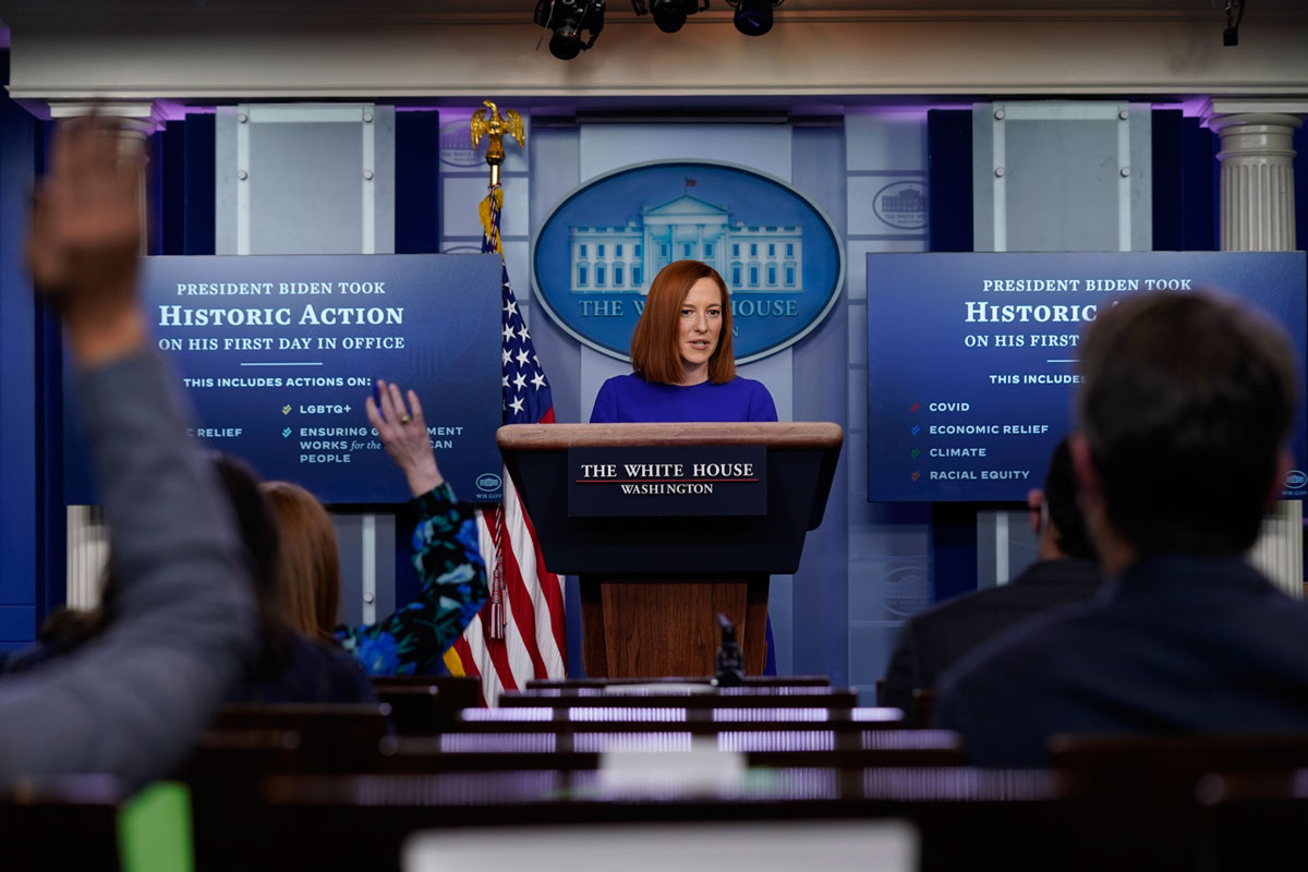 White House press secretary Jen Psaki speaks during a news briefing at the White House on January 20.