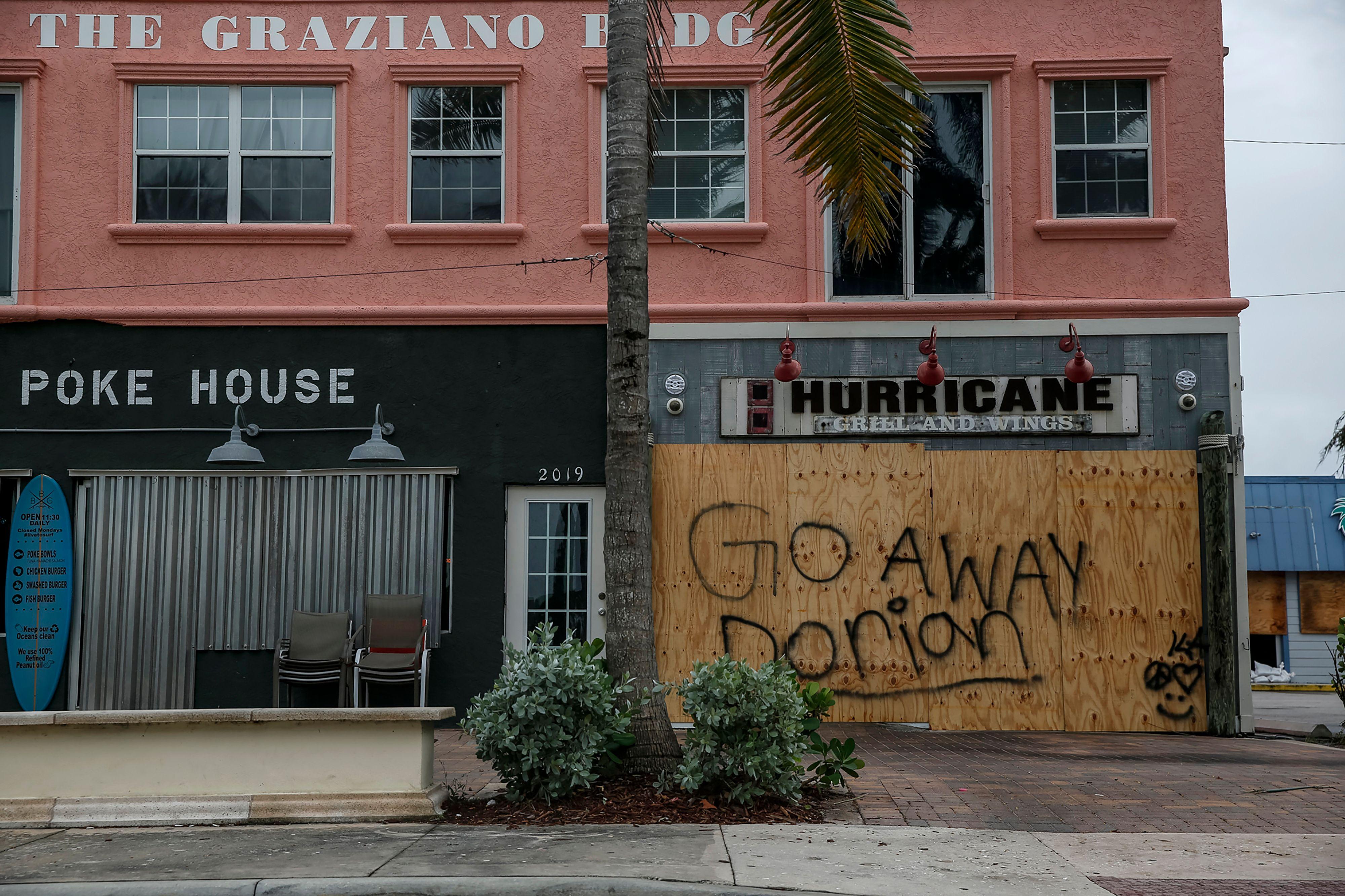 Businesses are seen shuttered near Fort Pierce Jetty Park, in Florida on September 2.