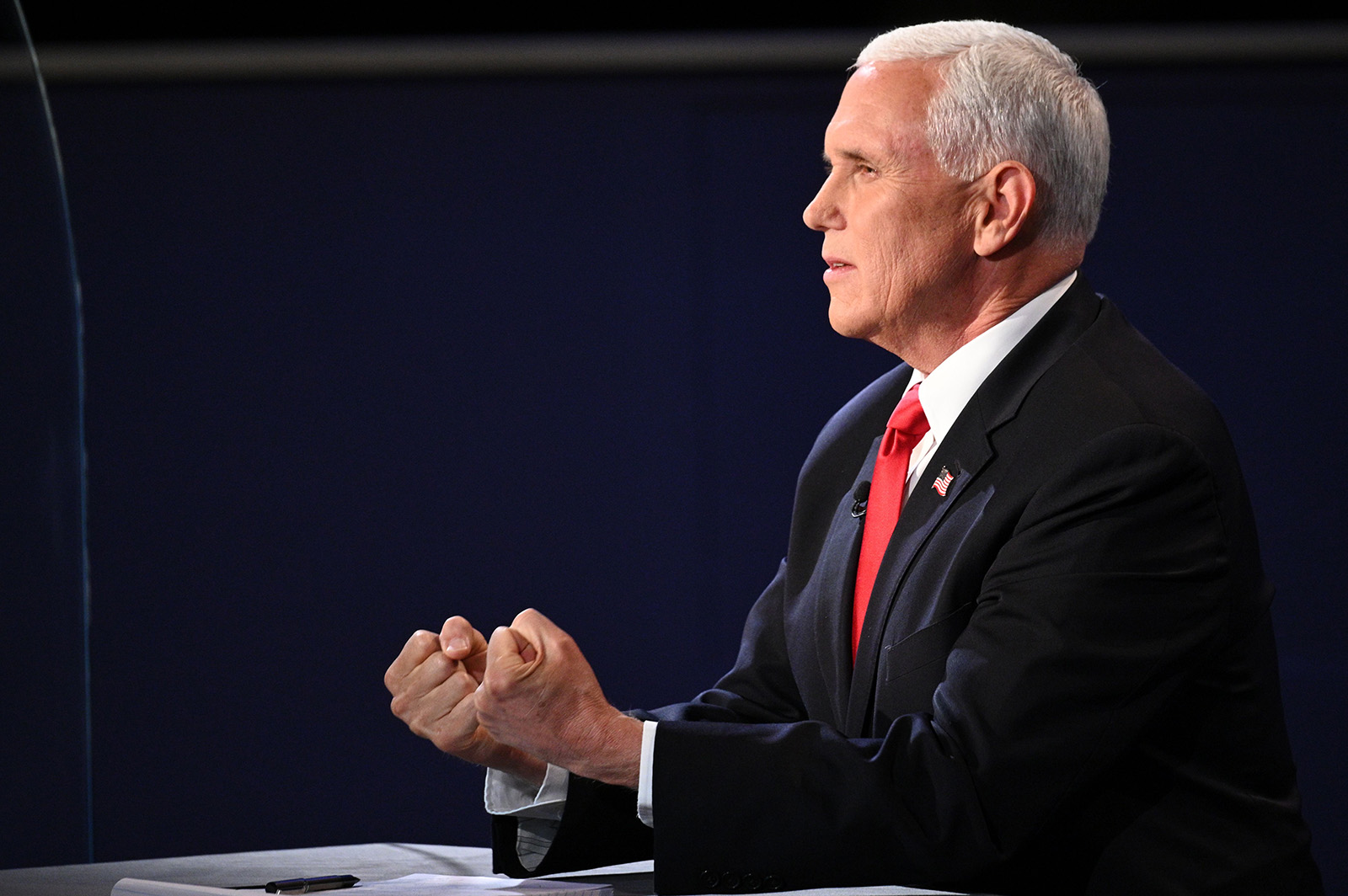 Vice President Mike Pence Mike Pence gestures as he speaks during the vice presidential debate in Salt Lake City on Wednesday.