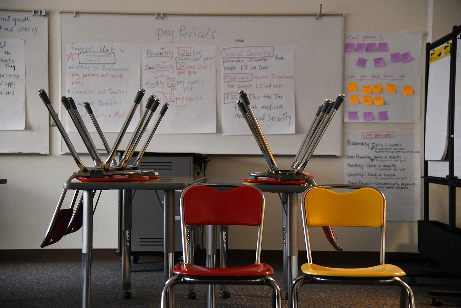 A classroom sits empty on Emily Griffith campus in Denver, Colorado on December 15, 2020.