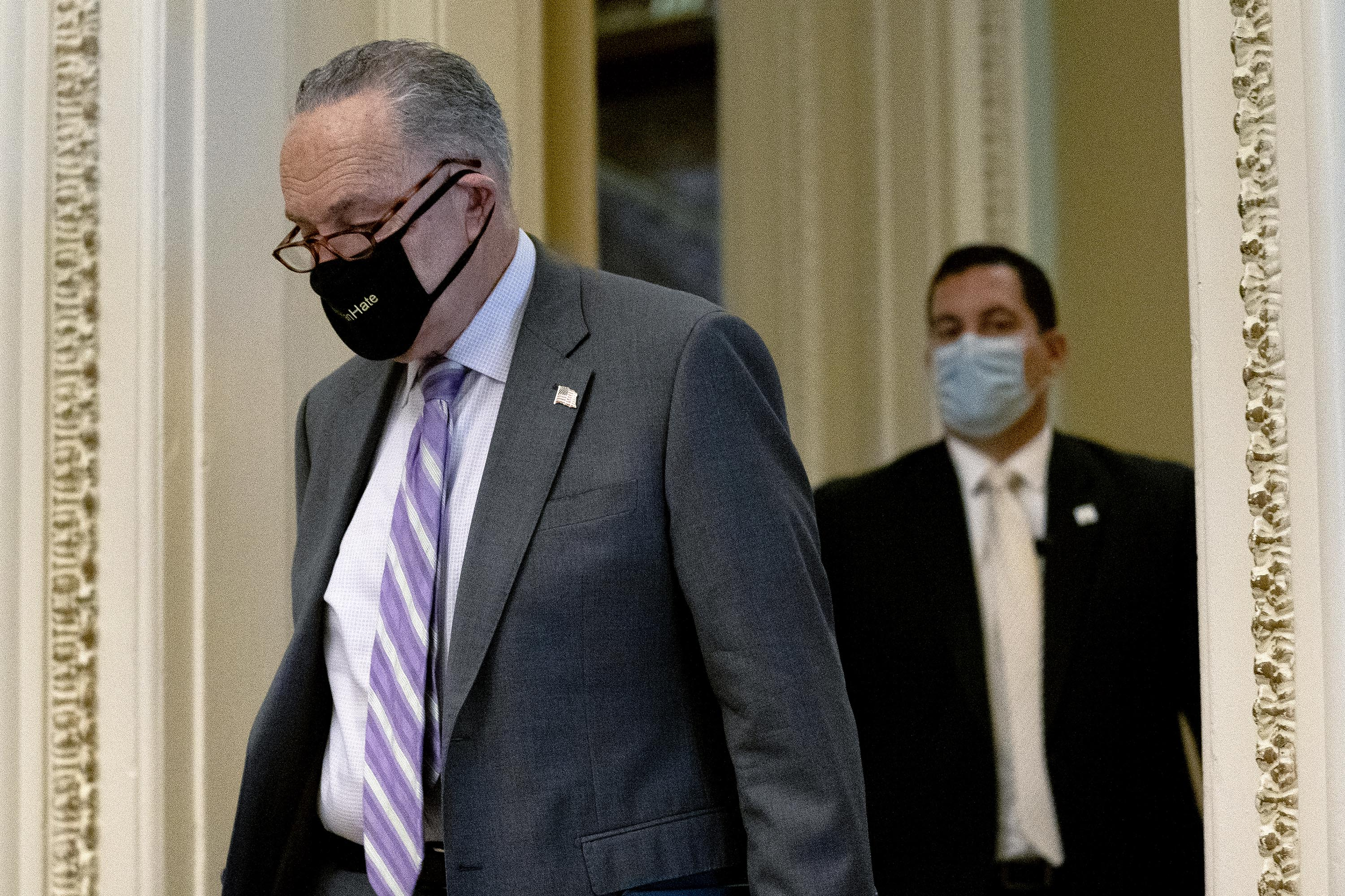 Senate Majority Leader Chuck Schumer arrives at the U.S. Capitol in Washington, D.C. on Wednesday, April 21.