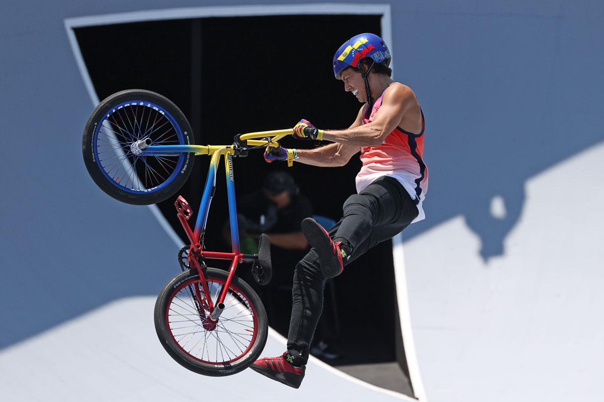 Venezuela's Daniel Dhers on his way to the silver medal in the Freestyle BMX Park final.