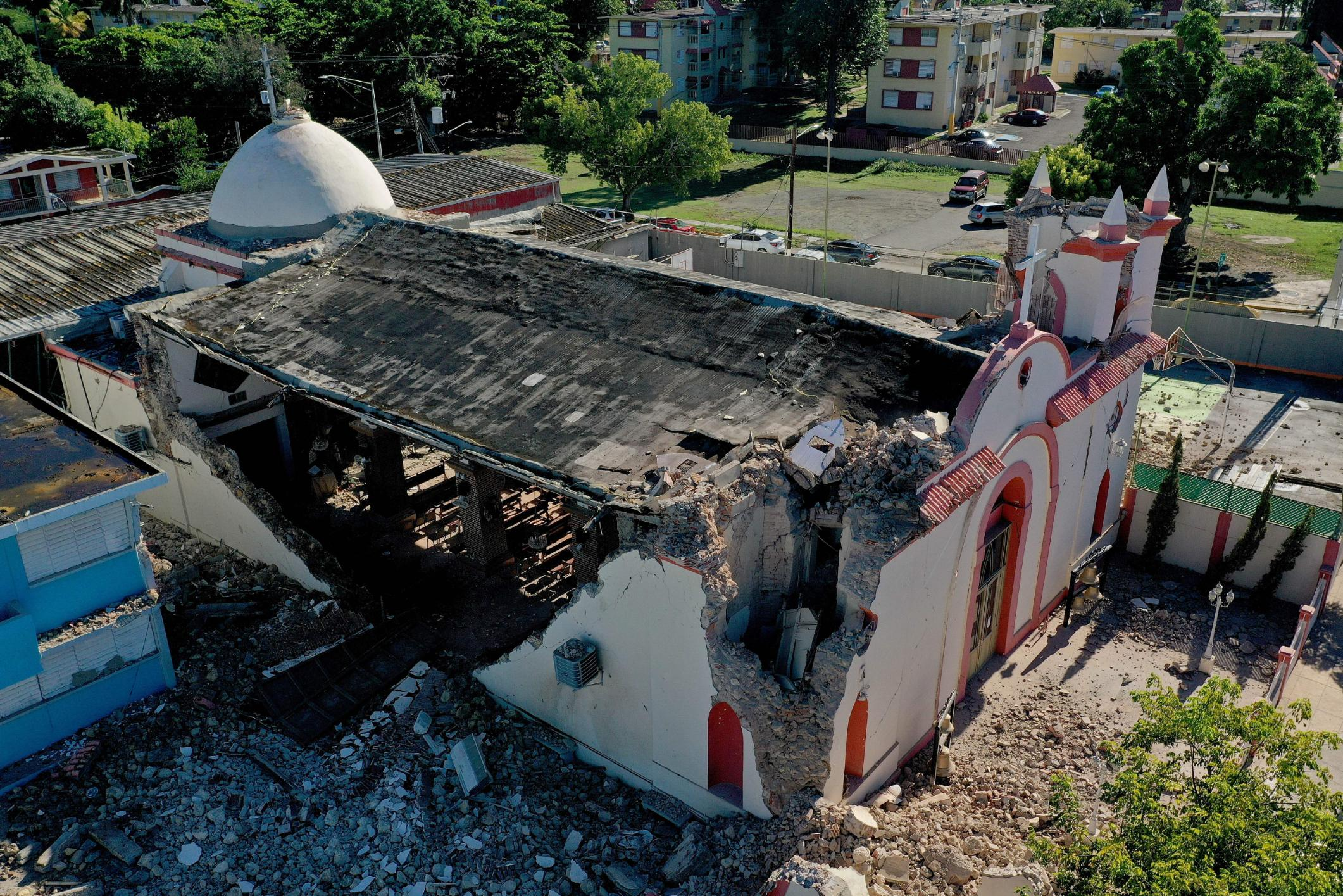 The Inmaculada Concepcion church, built in 1841, is seen partially collapsed after an earthquake hit the island in Guayanilla, Puerto Rico on January 7, 2020.