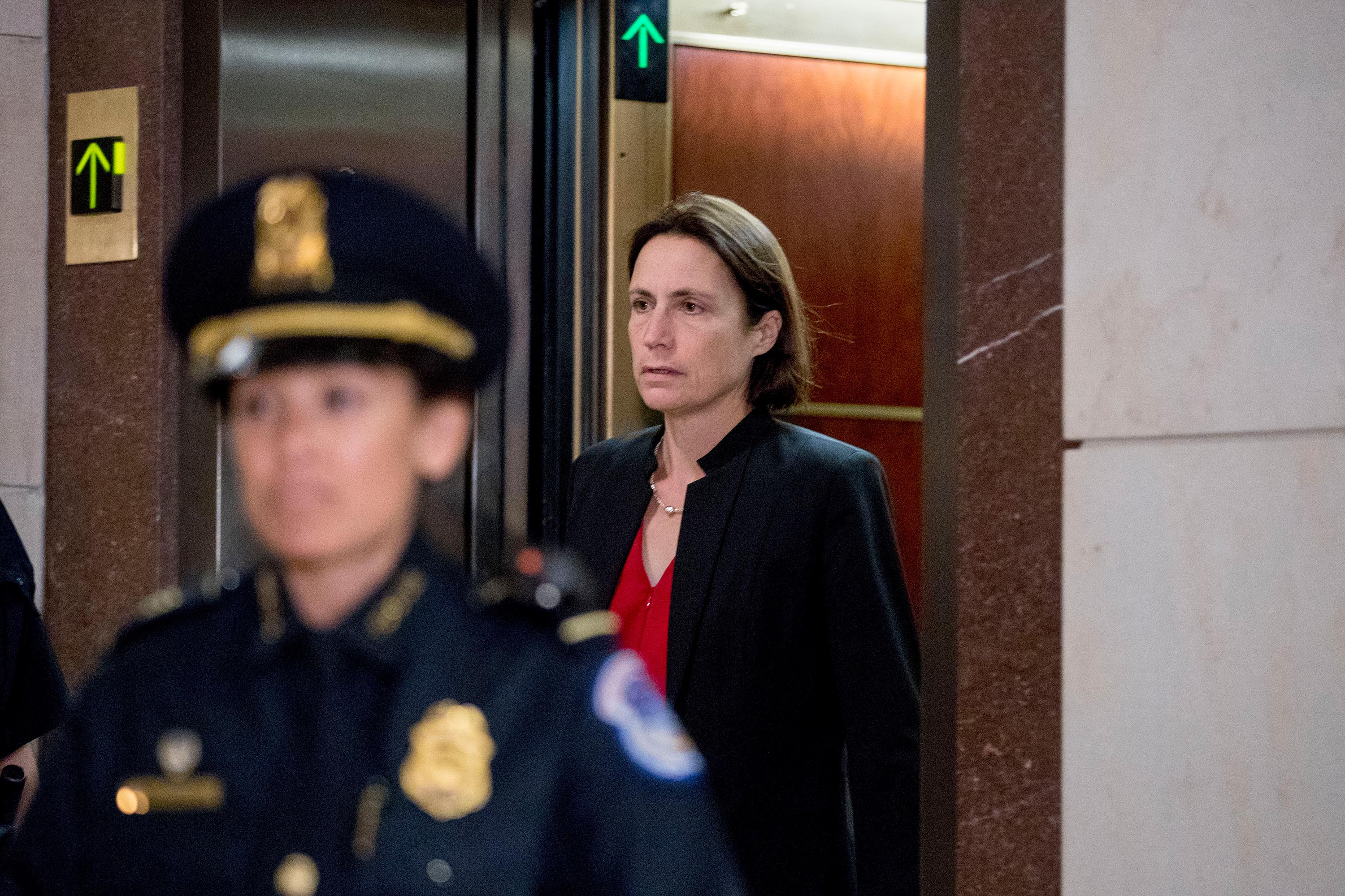 Former White House adviser on Russia Fiona Hill arrives on Capitol Hill in Washington, Monday.