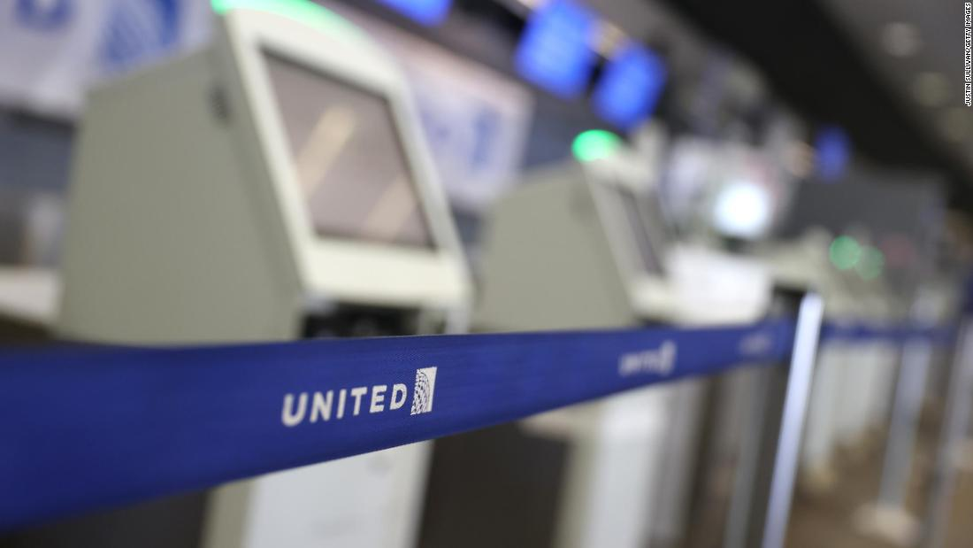 A stanchion blocks closed kiosks in the United Airlines terminal at San Francisco International Airport on July 8 in San Francisco, California.