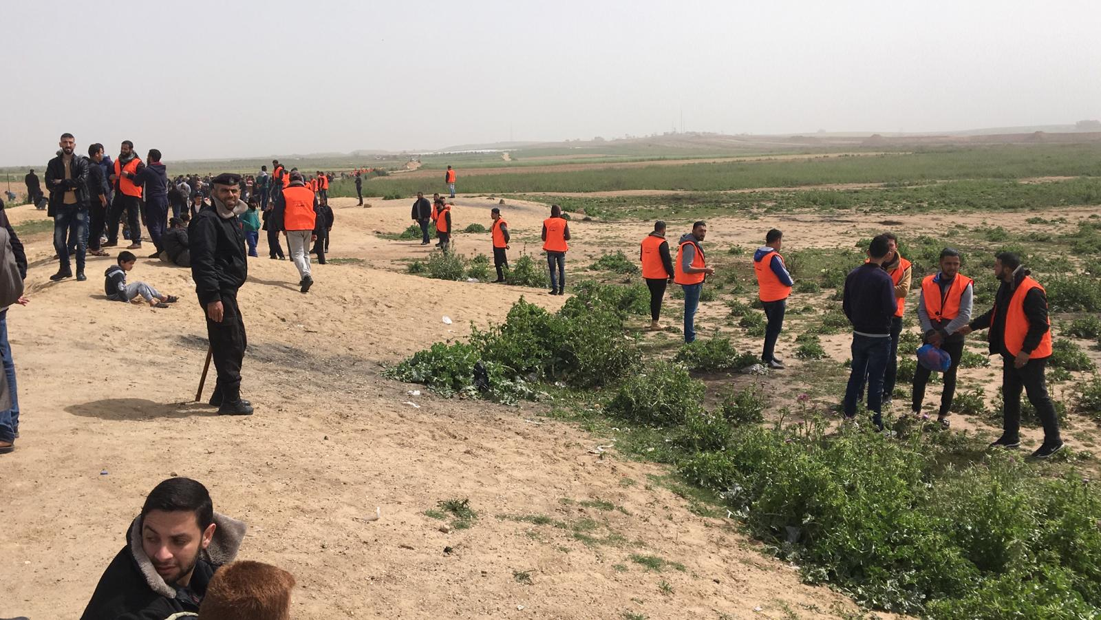 Hamas crowd control marshals in Jabalya.