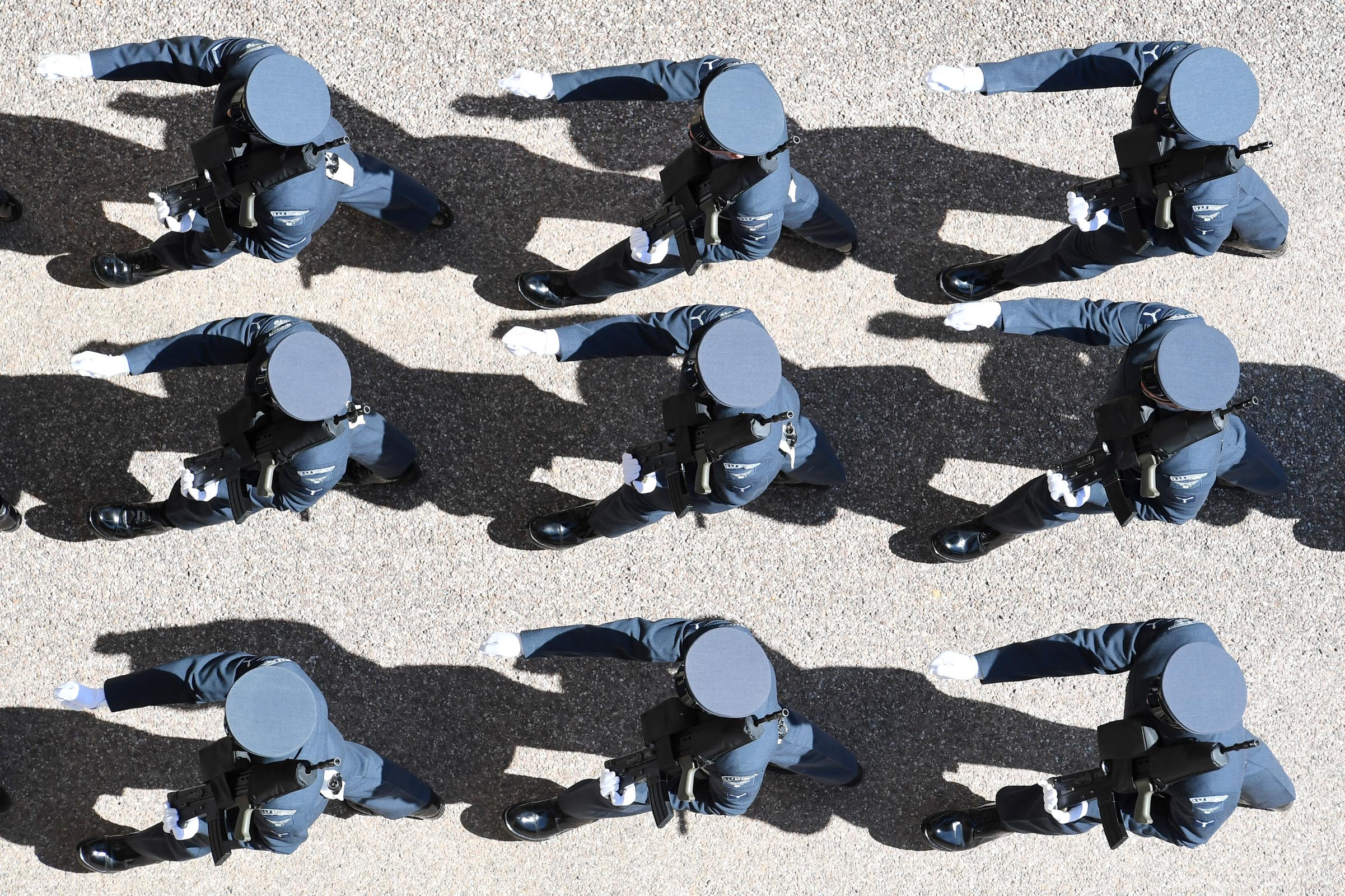 Airmen of the Royal Air Force march ahead of the funeral of Prince Philip.