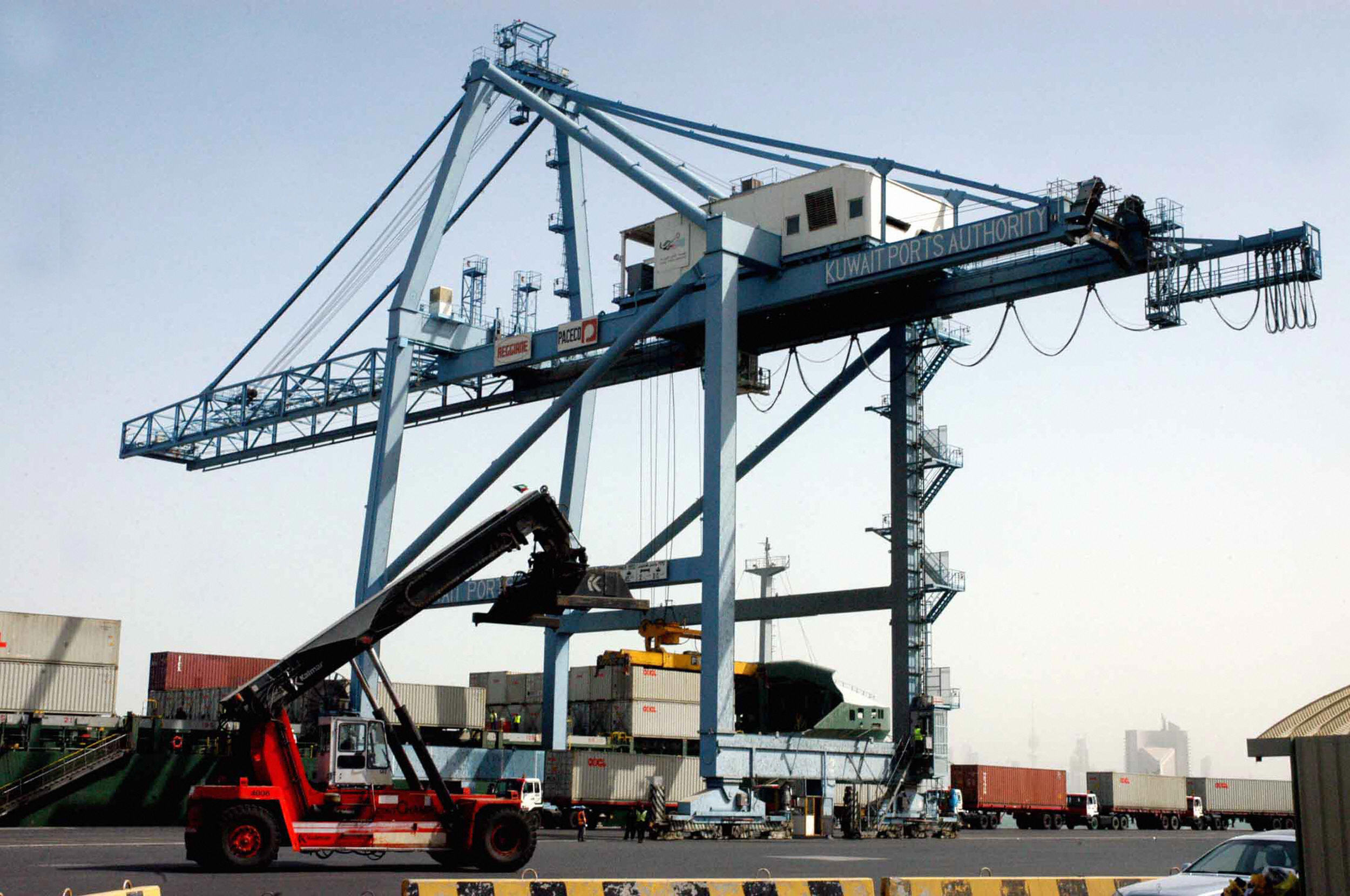 A container crane stands idle at Shuwaikh port in Kuwait City, Kuwait, in 2009.
