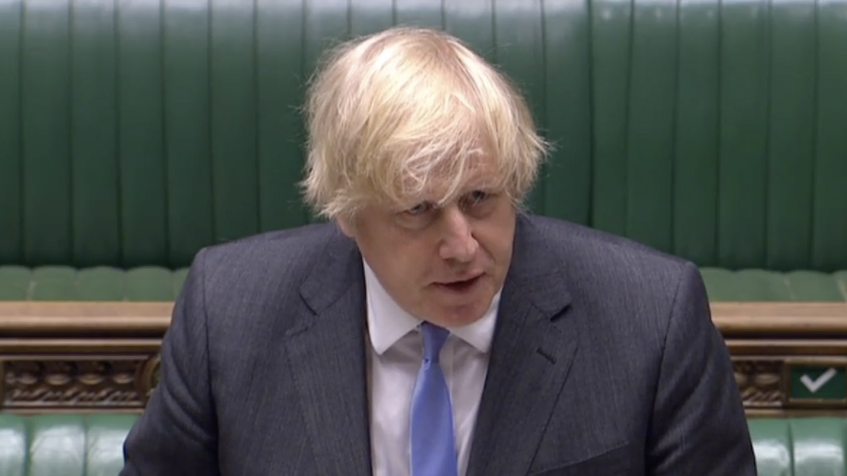 Britain's Prime Minister Boris Johnson speaks in the House of Commons in London, on Tuesday, June 23.