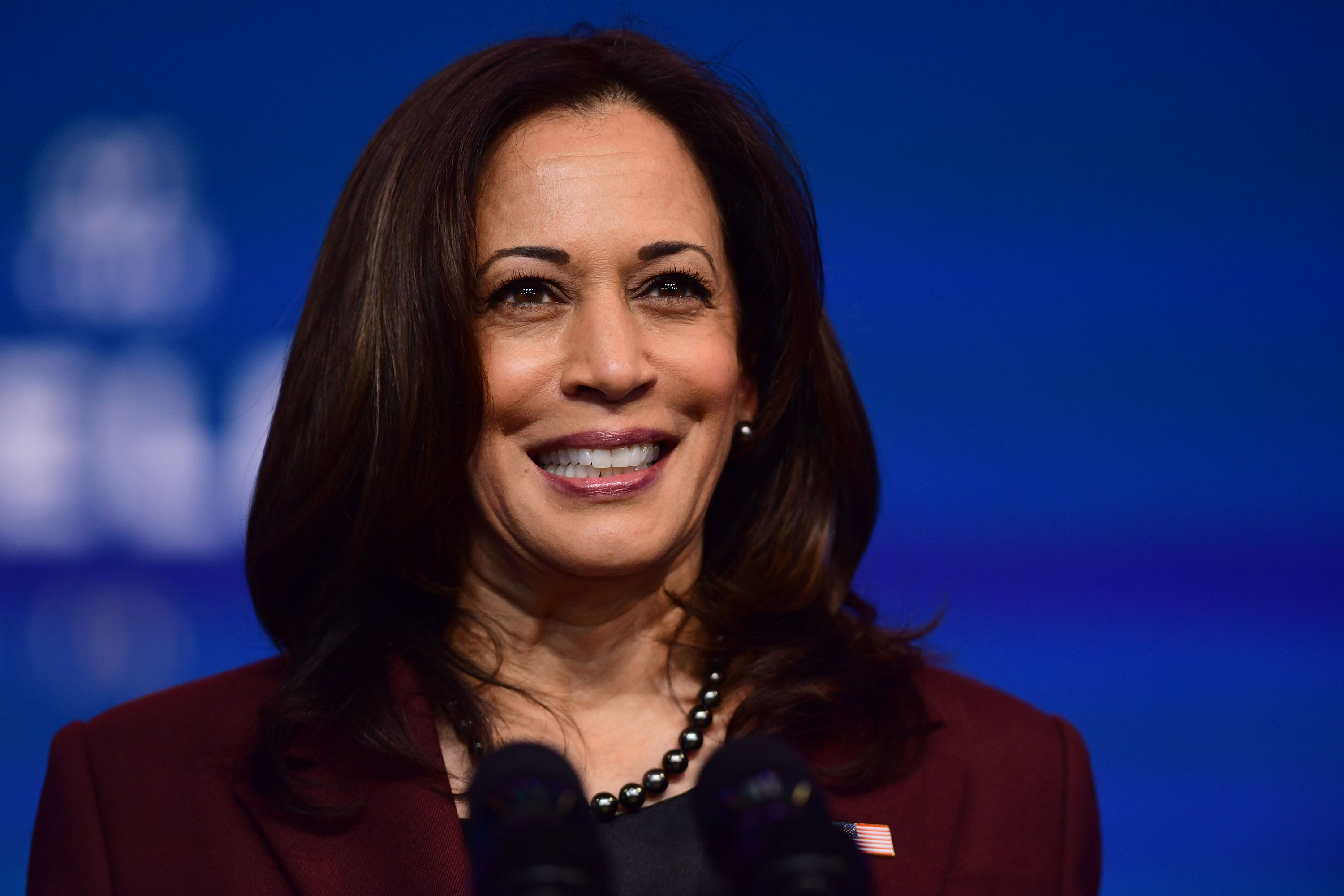 Vice President-elect Kamala Harris speaks at the Queen Theatre on November 24 in Wilmington, Delaware.