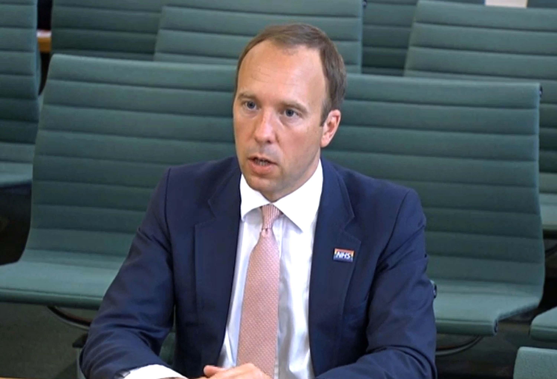 Health Secretary Matt Hancock speaks to a parliamentary committee on Thursday, June 10.