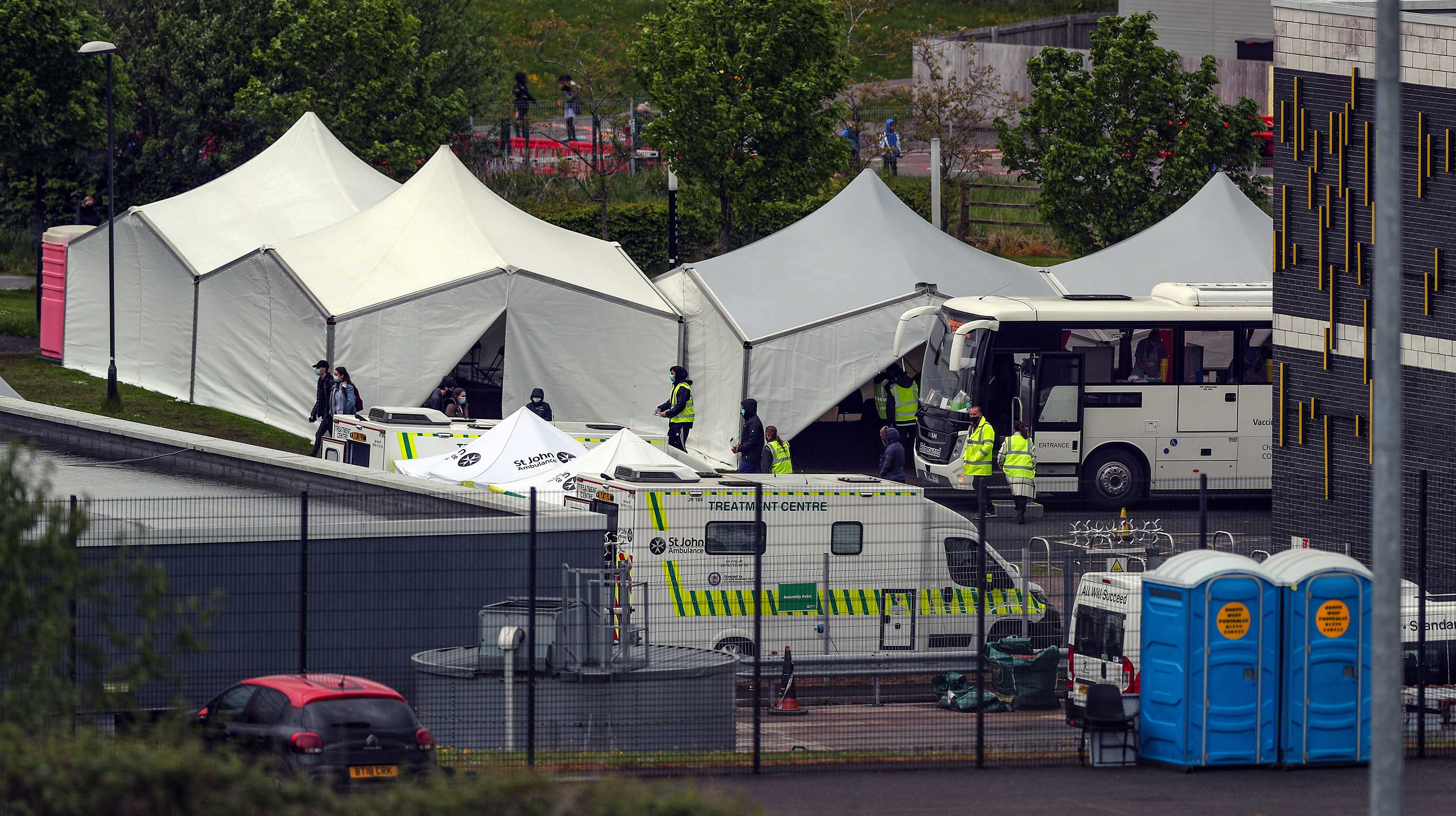 A mobile testing center is seen on May 25 in Bolton, England, an area of the UK where the Covid-19 variant first identified in India has been detected.