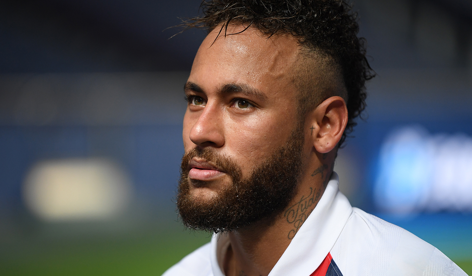 Neymar of Paris Saint-Germain is interviewed after the UEFA Champions League quarter final match between Atalanta and PSG at Estadio do Sport Lisboa e Benfica on August 12, in Lisbon, Portugal.
