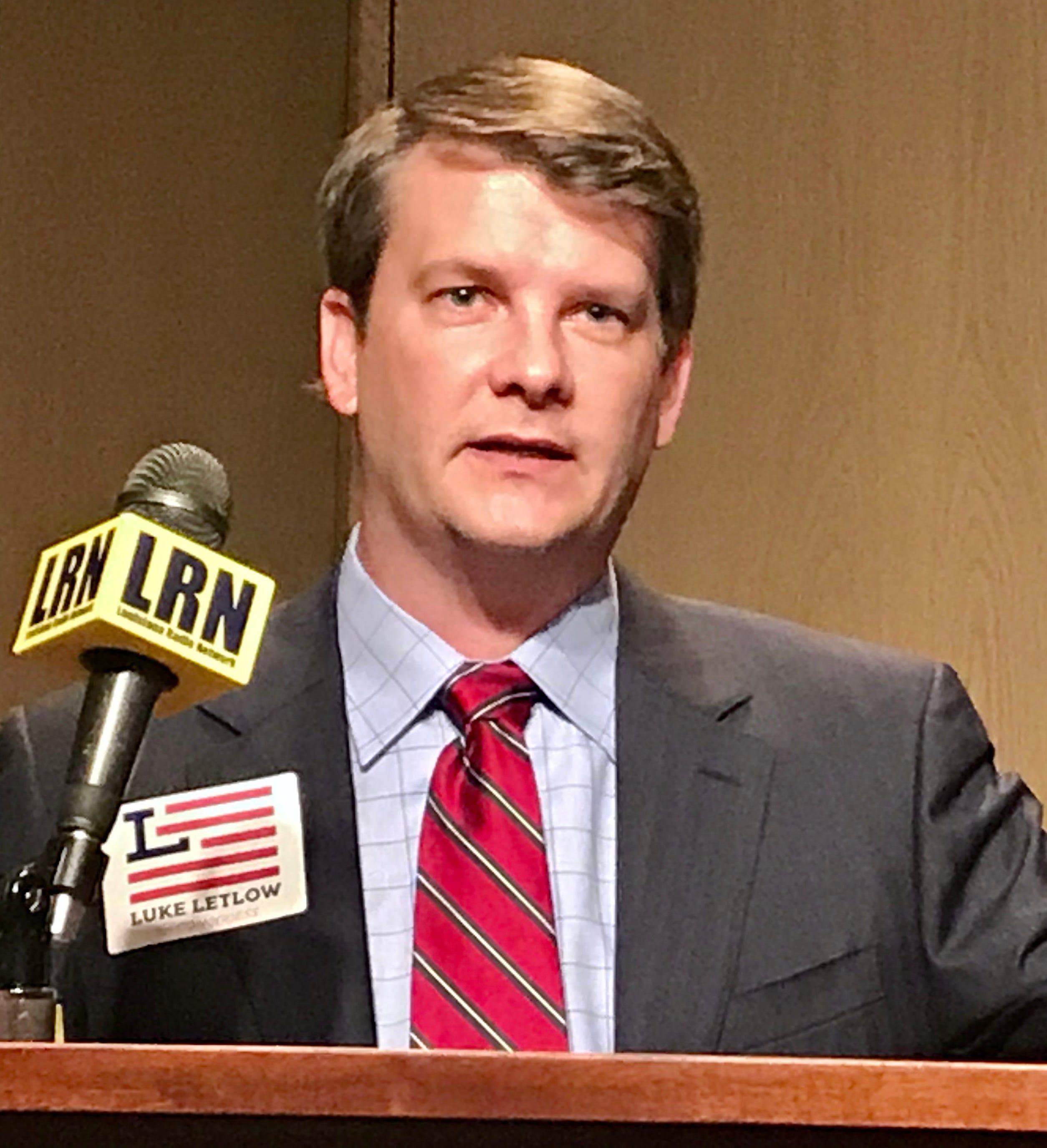 Congressman-elect Luke Letlow speaks on July 22.