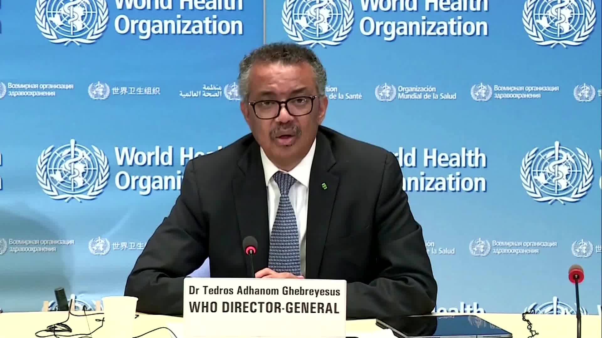 WHO Director-General Tedros Adhanom Ghebreyesus speaks during a media briefing on April 22, in Geneva, Switzerland.