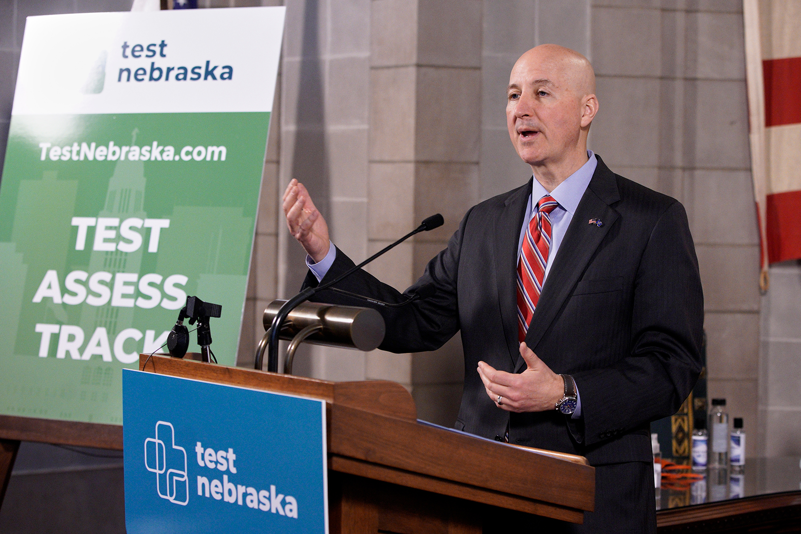 Gov. Pete Ricketts speaks at a news conference in Lincoln, Nebraska, on May 1.