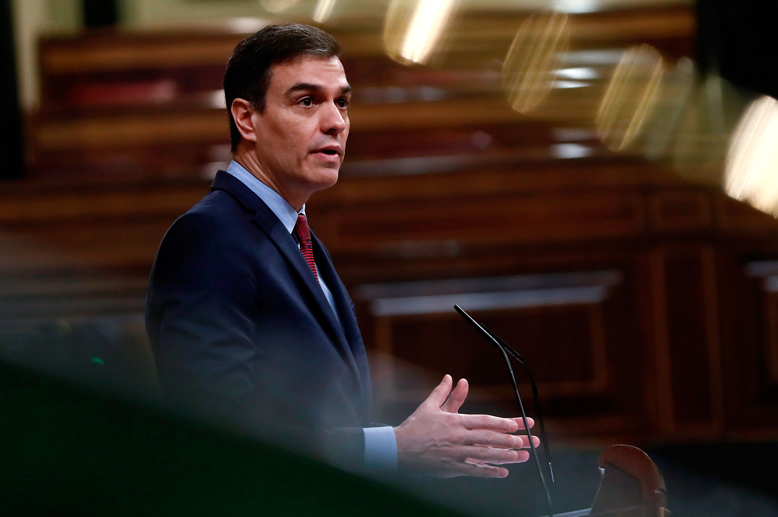 Spanish Prime Minister Pedro Sánchez delivers a speech at Lower Chamber of Spanish Parliament in Madrid on April 9.