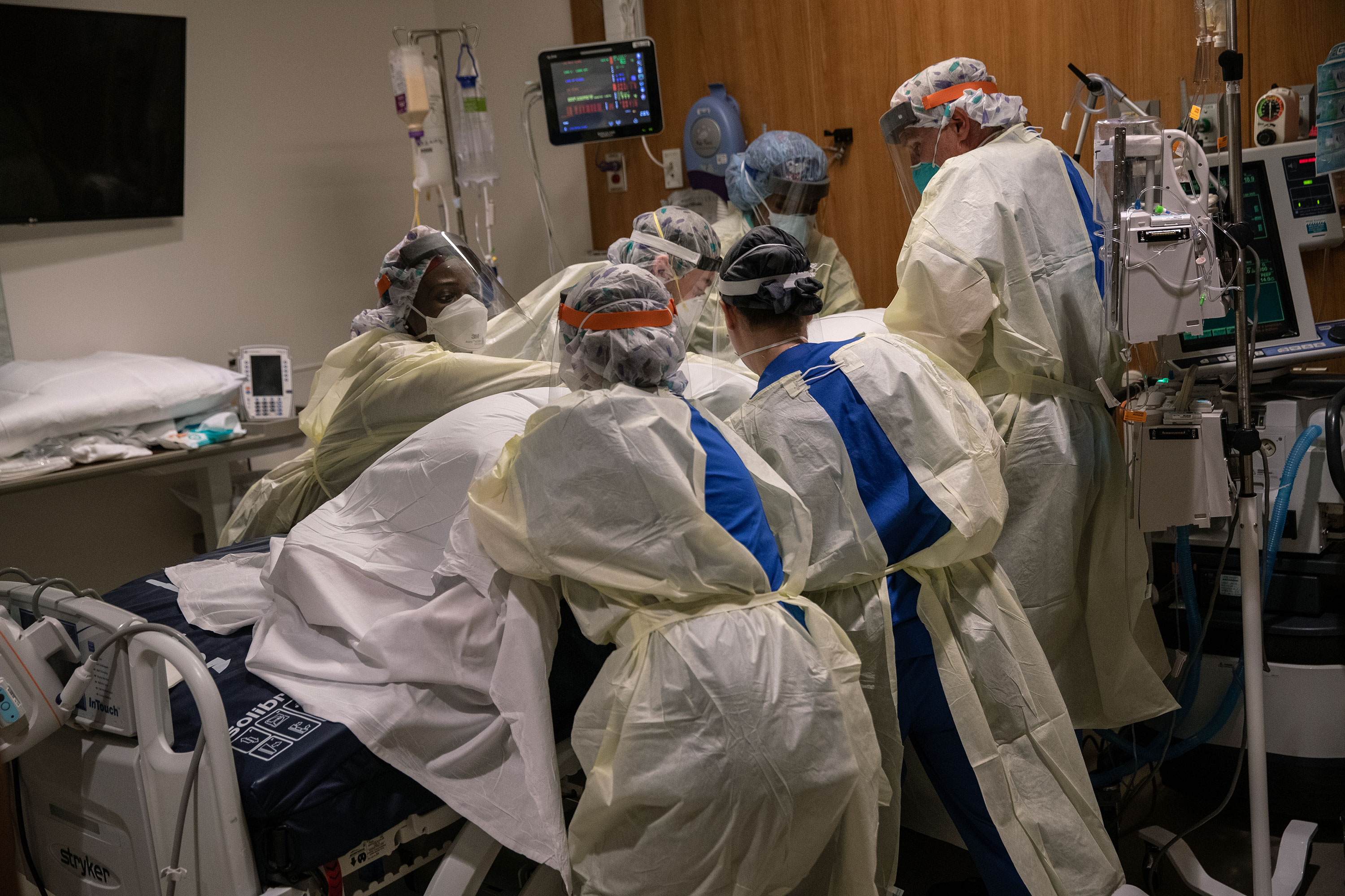 Medical workers tend to a coronavirus patient at Stamford Hospital on April 24, in Stamford, Connecticut.