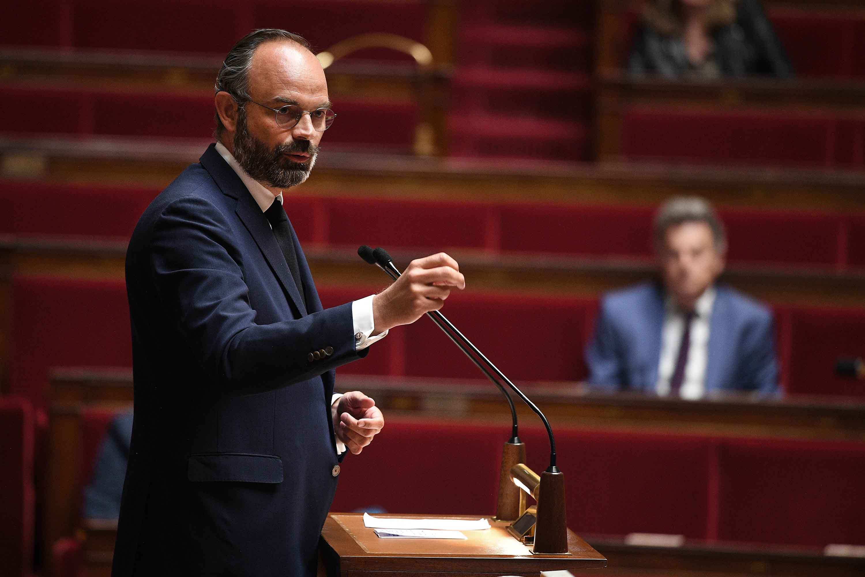 French Prime Minister Edouard Philippe speaks during a debate on the French government's plan to exit from the lockdown situation at the French National Assembly in Paris on April 28.