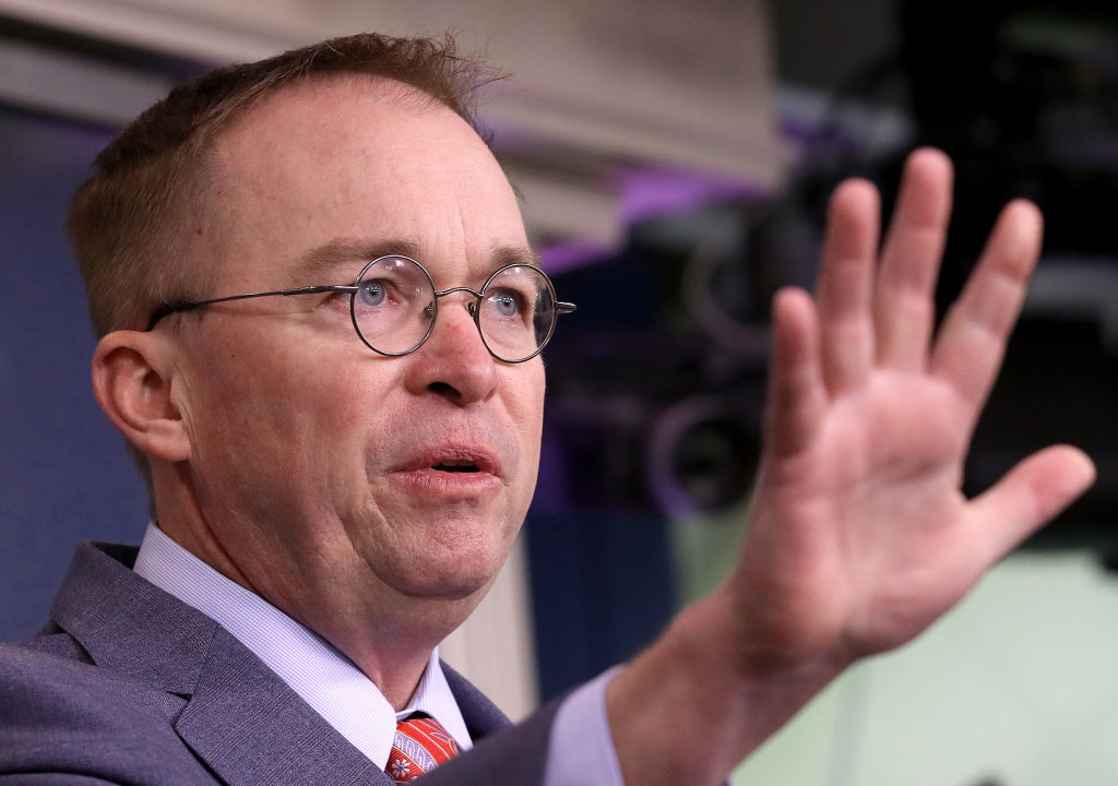Acting White House Chief of Staff Mick Mulvaney answers questions during a briefing at the White House on October 17.