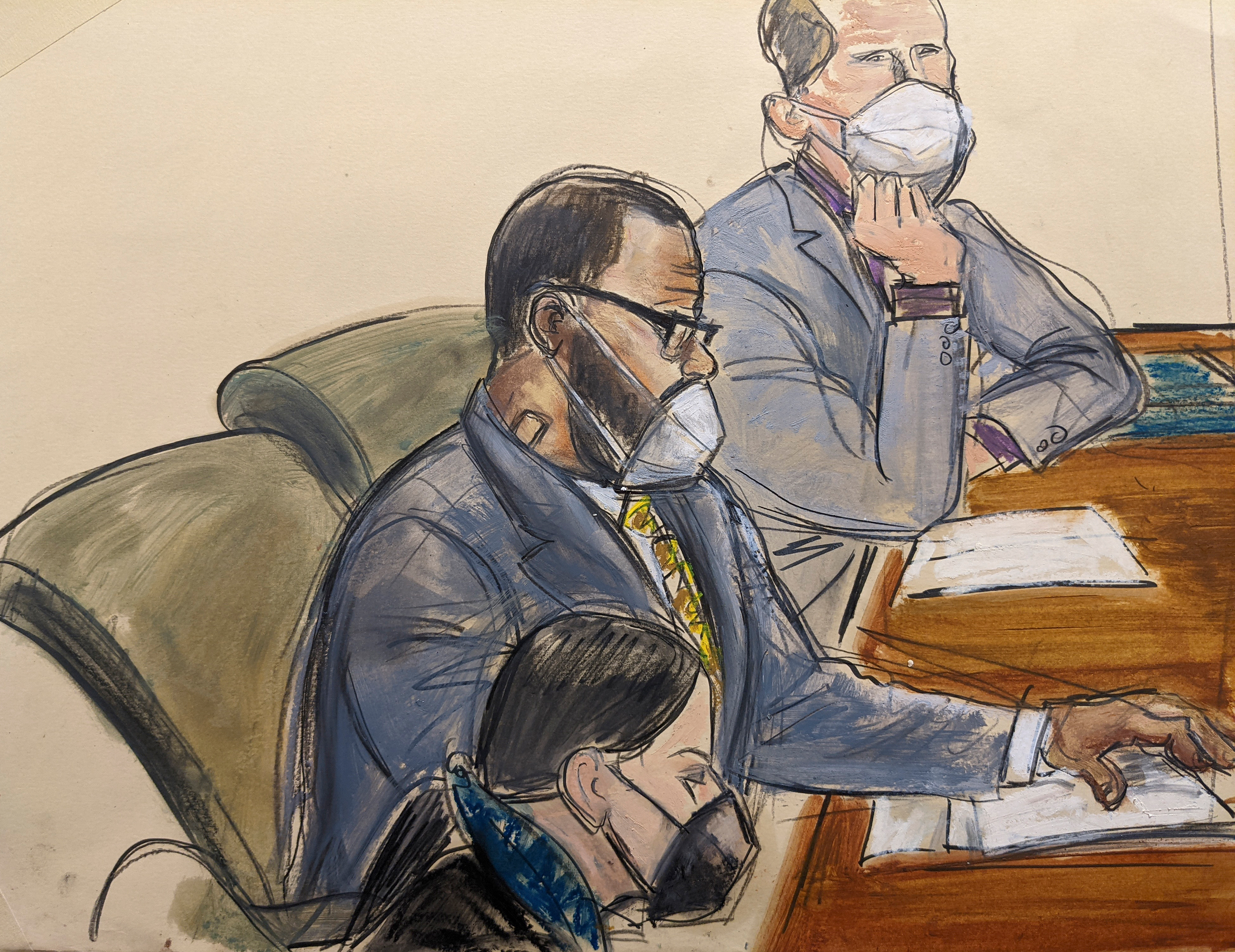 R. Kelly sits with his defence  attorneys successful  tribunal  connected  Monday, September 20.