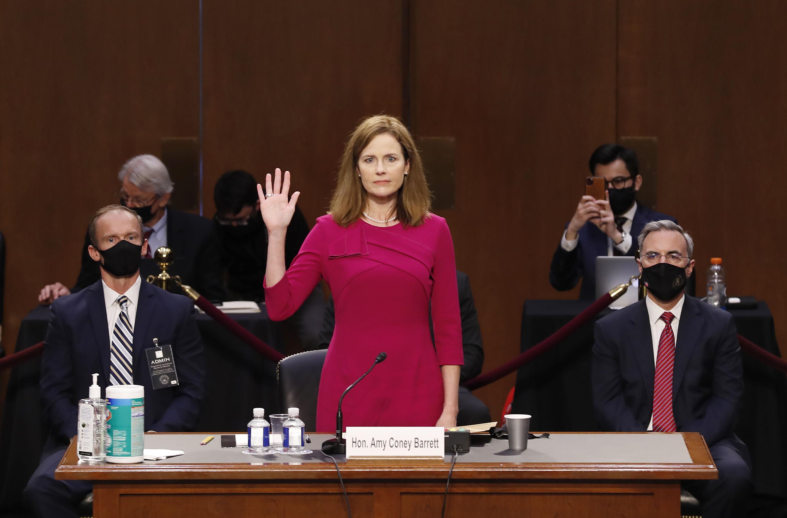 Supreme Court nominee Judge Amy Coney Barrett is sworn into her Senate Judiciary Committee confirmation hearing on Capitol Hill on October 12.