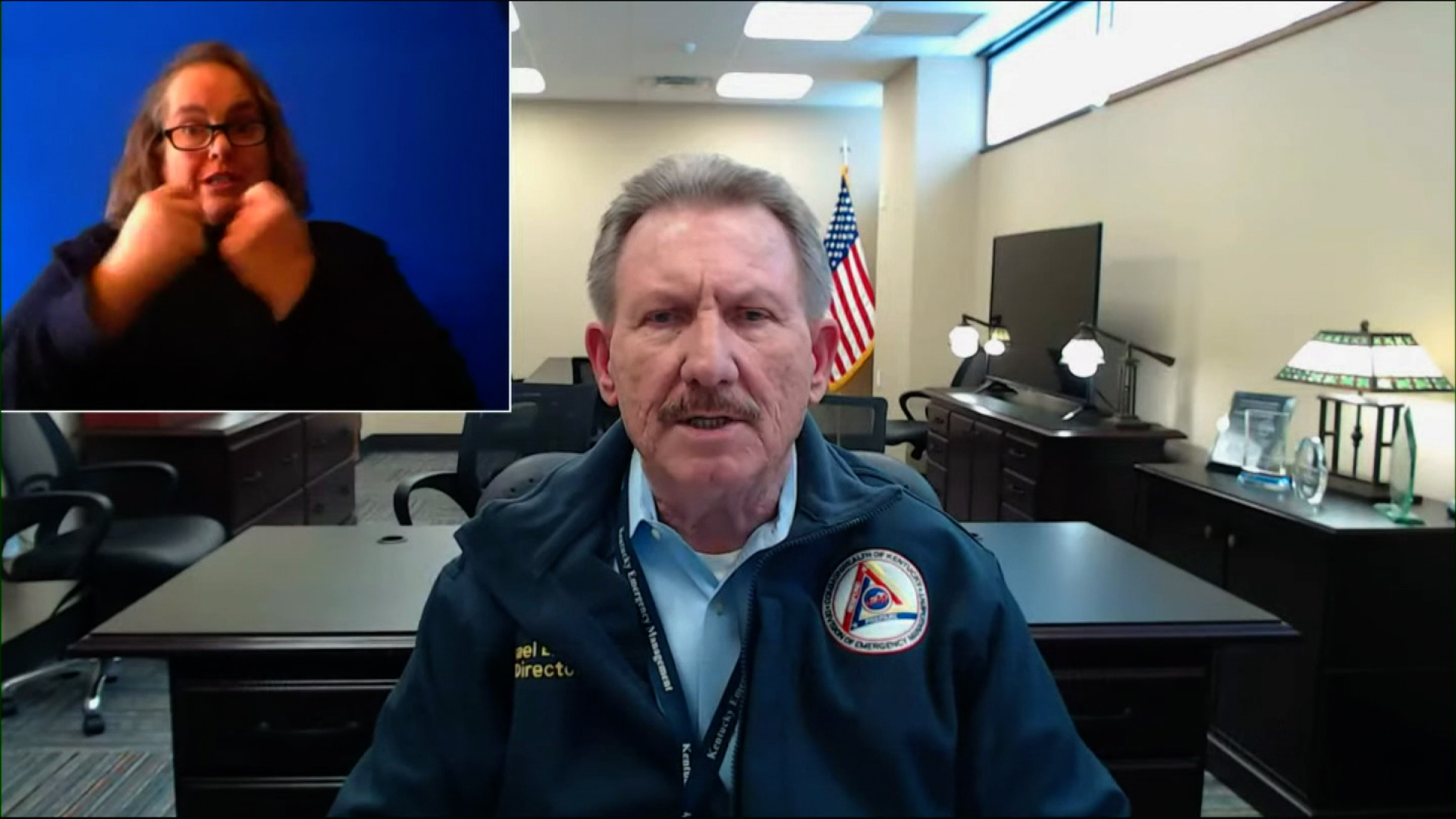 Kentucky Emergency Management Director Michael Dossett speaks during a press conference on February 16.