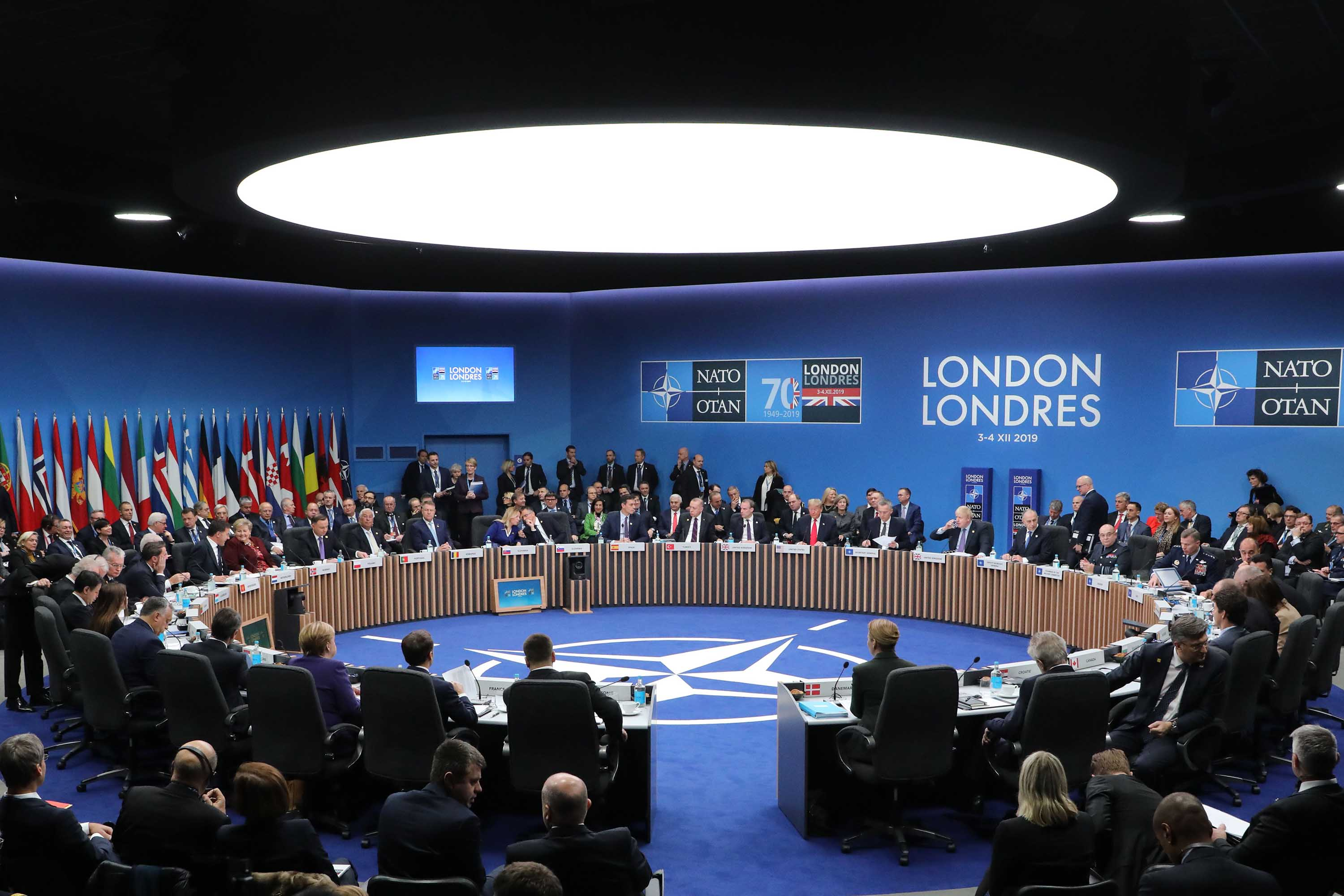 NATO heads of state attend the plenary session of the NATO summit on Wednesday. Photo: Ludovic Marin/AFP via Getty Images