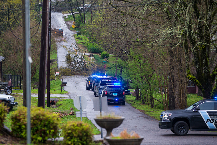Police respond to a downed tree across a street in Helena, Alabama, on Thursday, March 25.