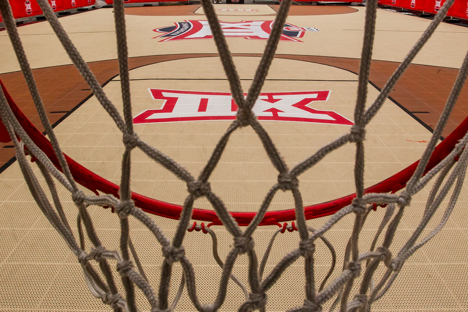 An open basketball court apart of the Big 12 fan experience sits empty due to the cancellation of the Big 12 Tournament to prevent the spread of the Coronavirus (COVID-19) prior to the game between the Texas Tech Red Raiders and the Texas Longhorns, at the Sprint Center in Kansas City, Missouri, on March 12.